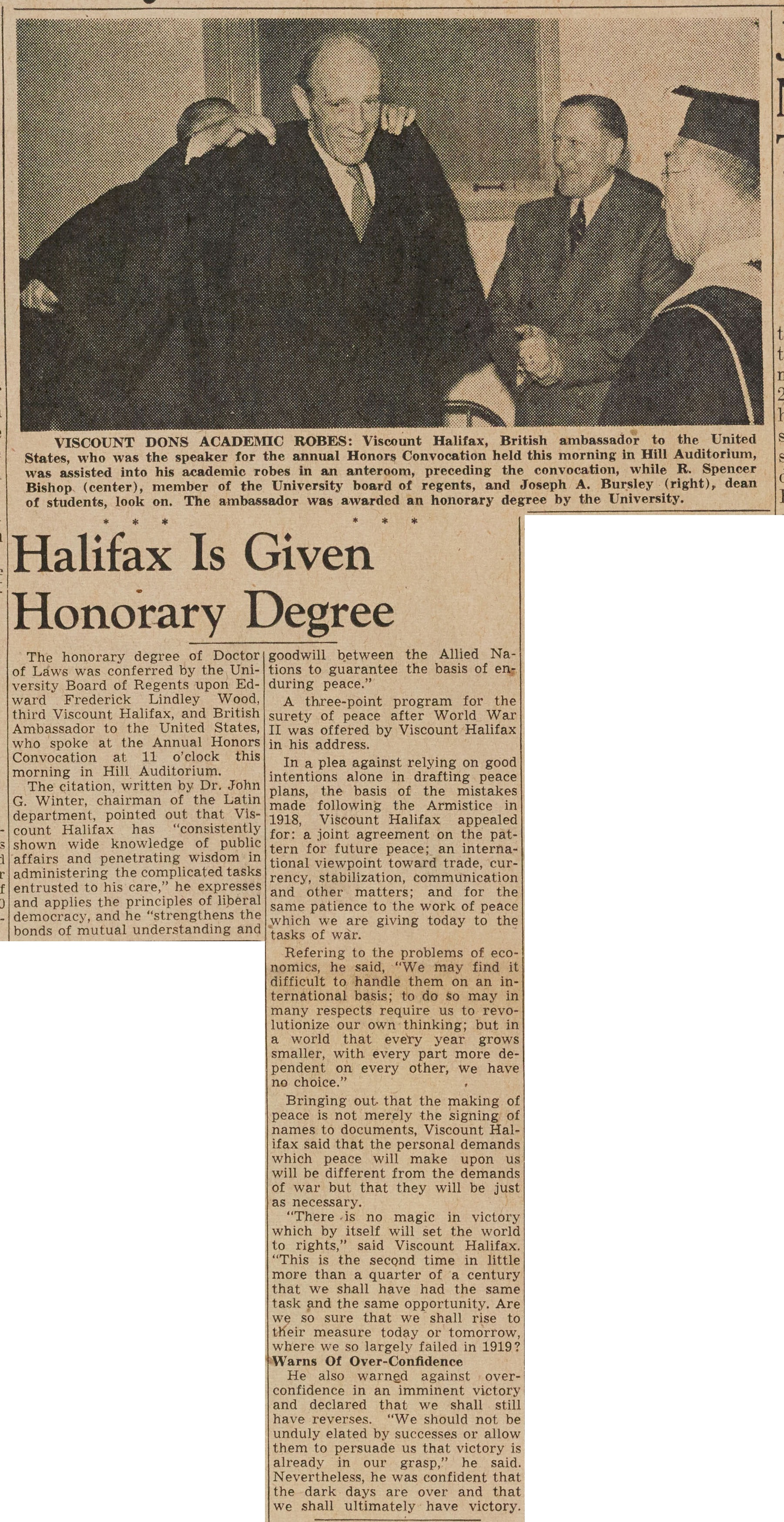 Halifax Is Given Honorary Degree image