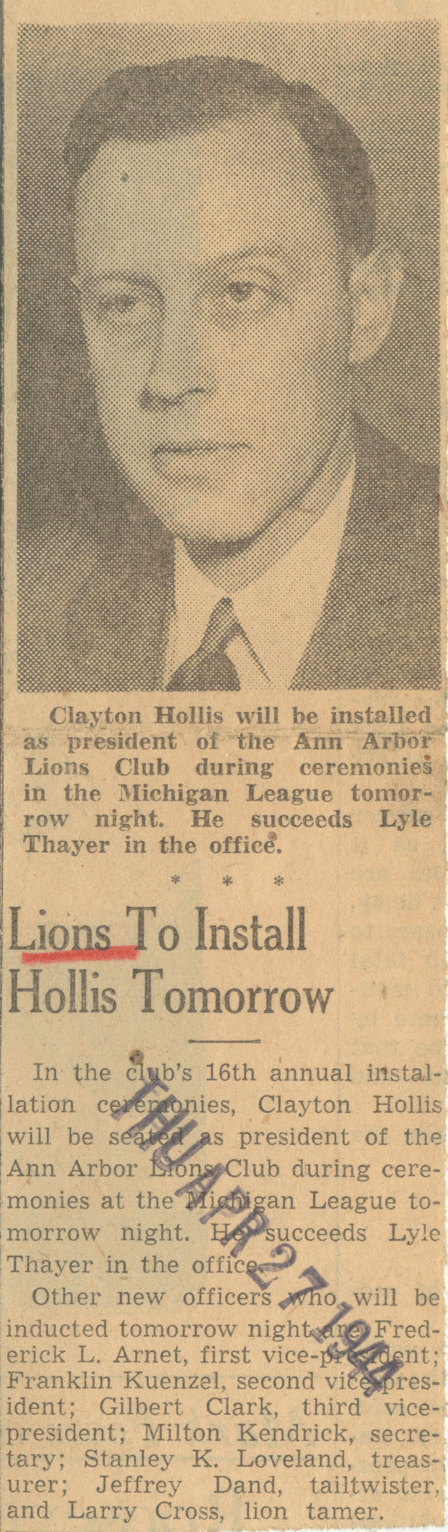 Lions To Install Hollis Tomorrow image