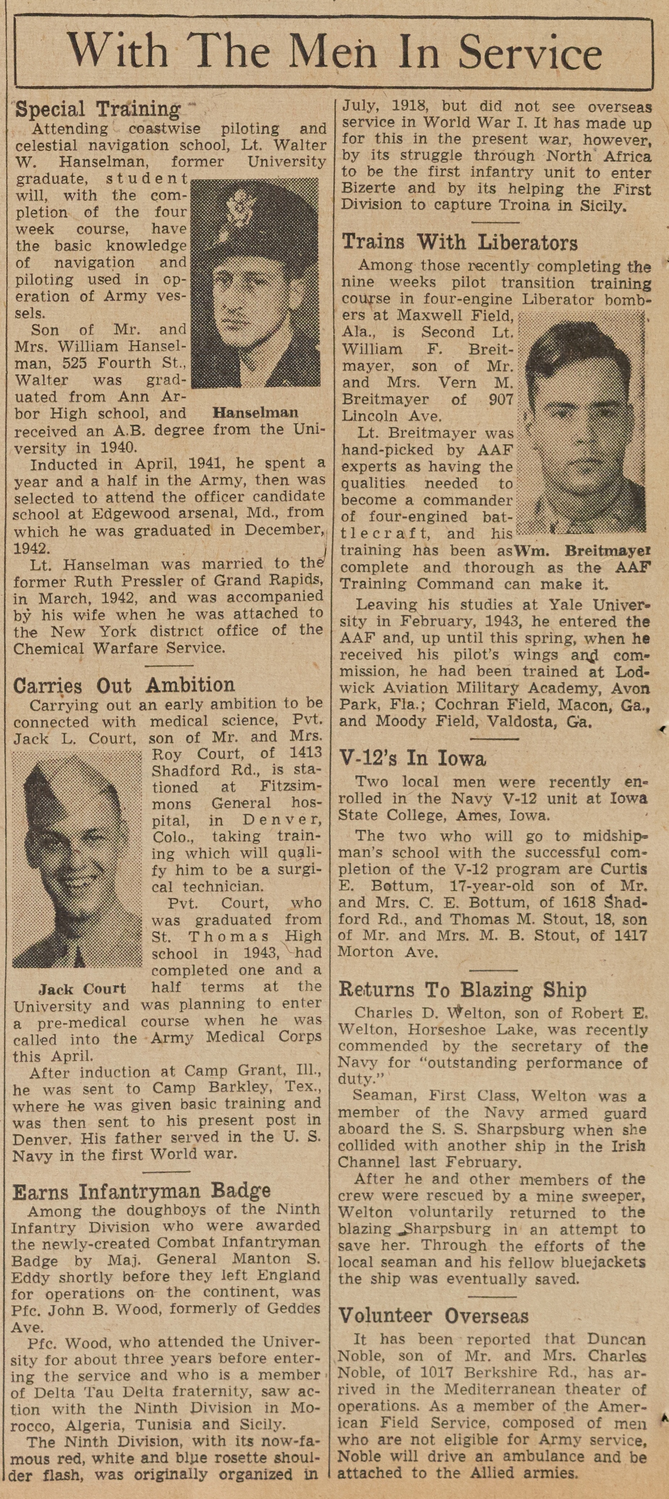 With The Men In Service: July 22, 1944 image