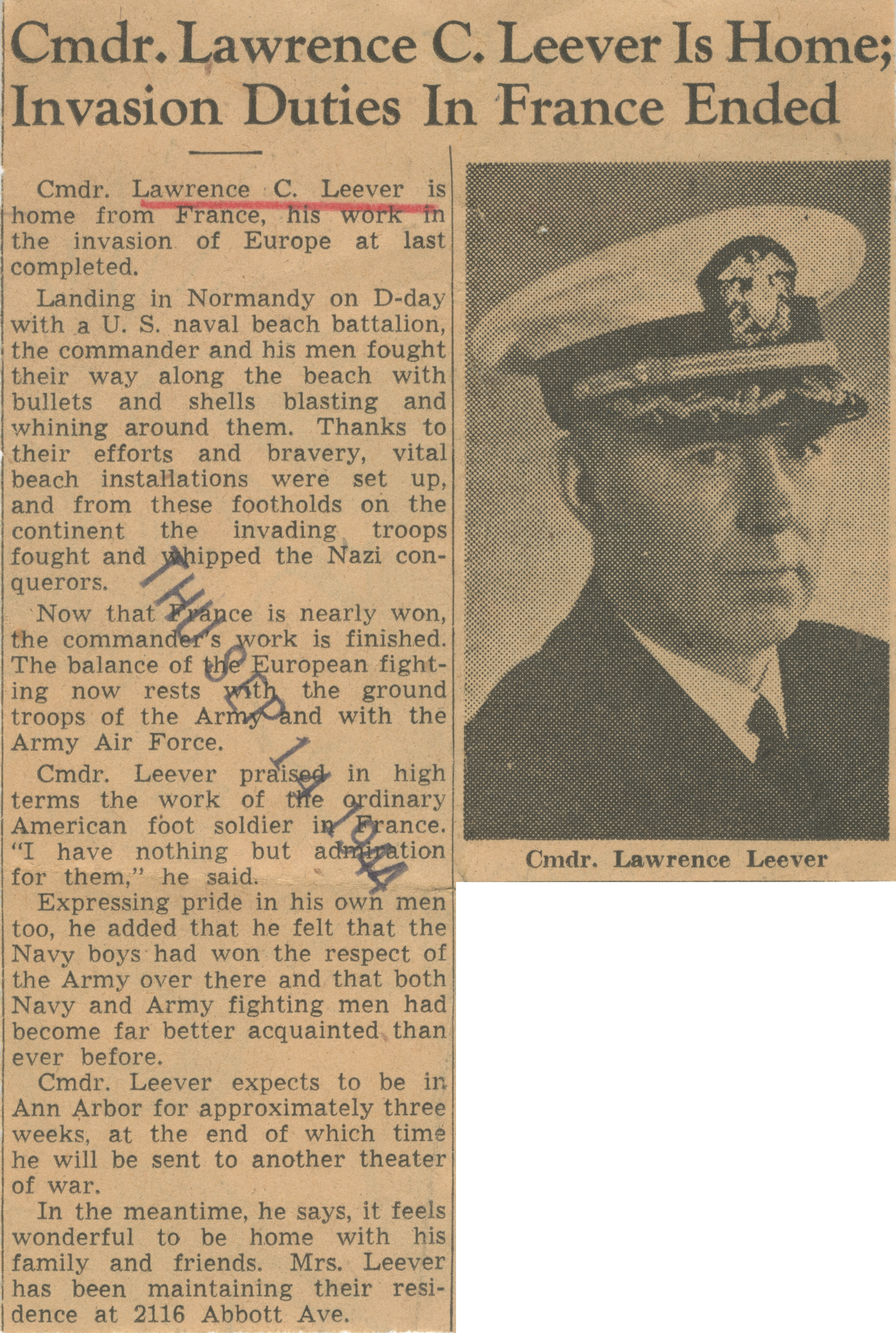 Cmdr. Lawrence C. Leever Is Home; Invasion Duties In France Ended image