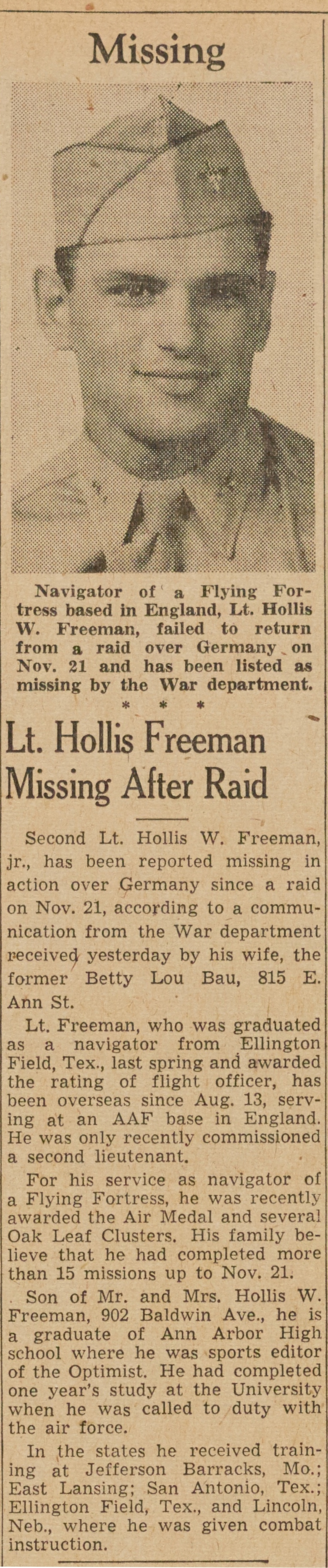 Lt. Hollis Freeman Missing After Raid image