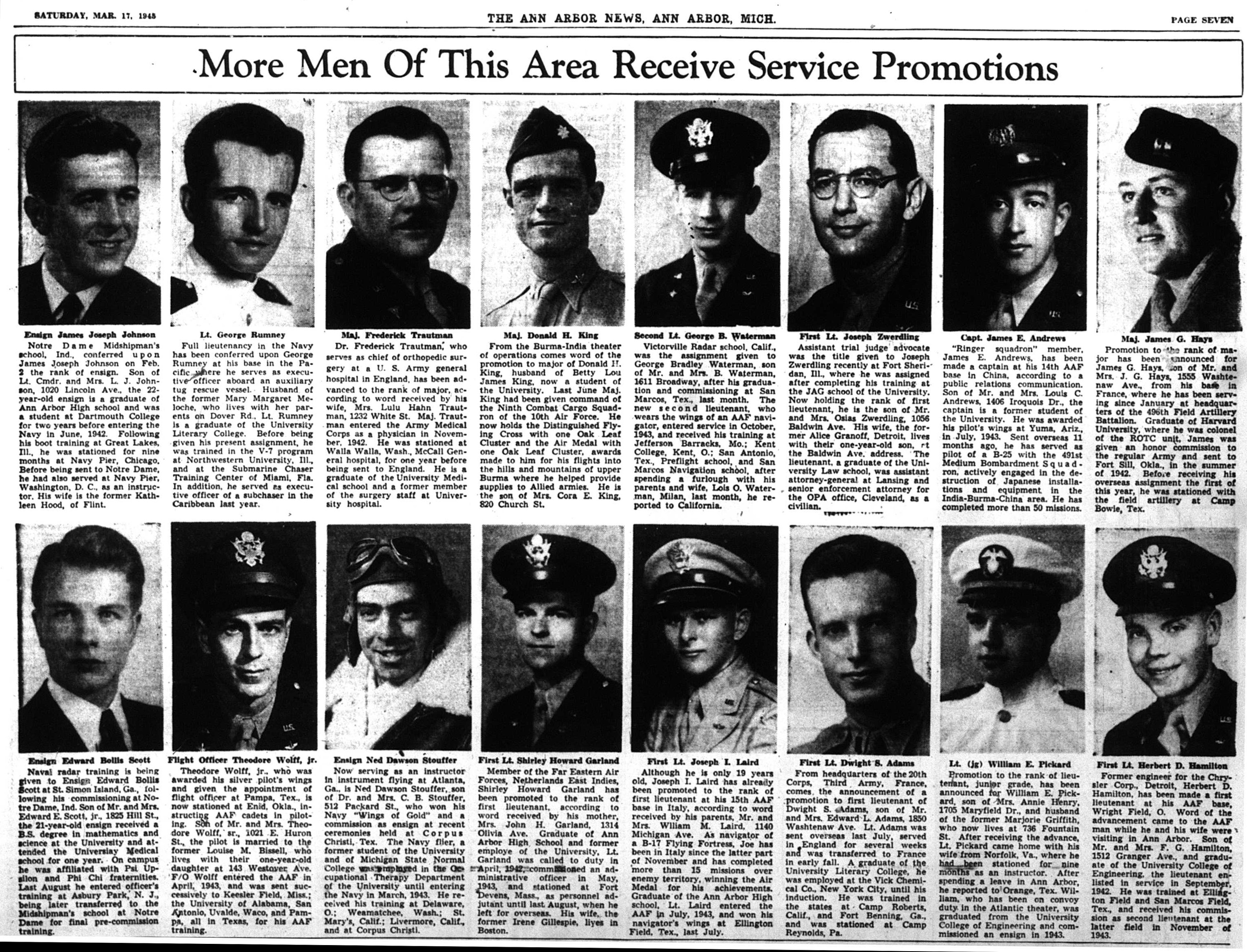 More Men Of This Area Receive Service Promotions image