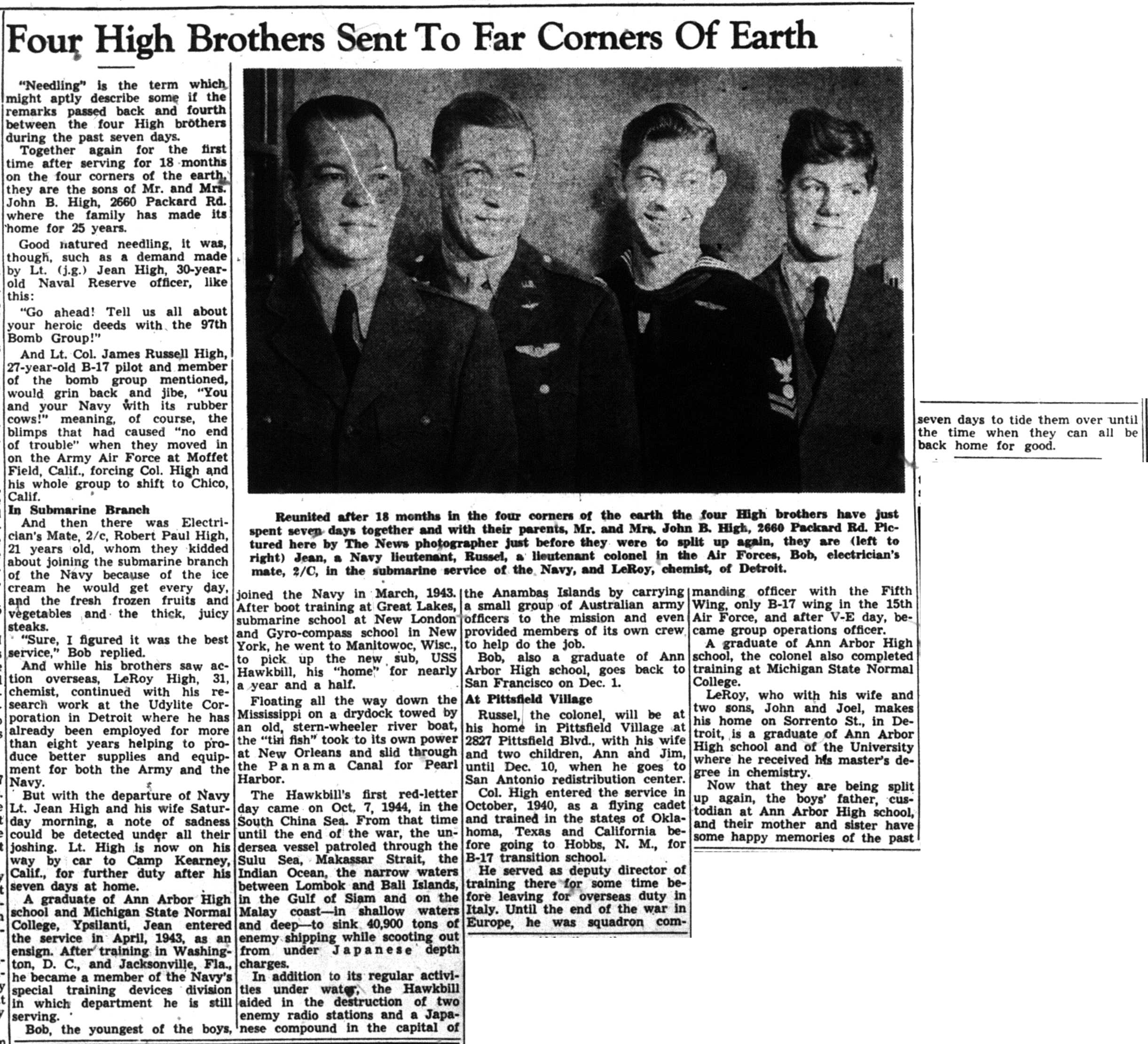 Four High Brothers Sent To Far Corners Of Earth image