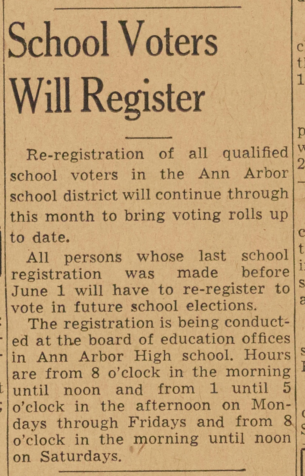 School Voters Will Register image
