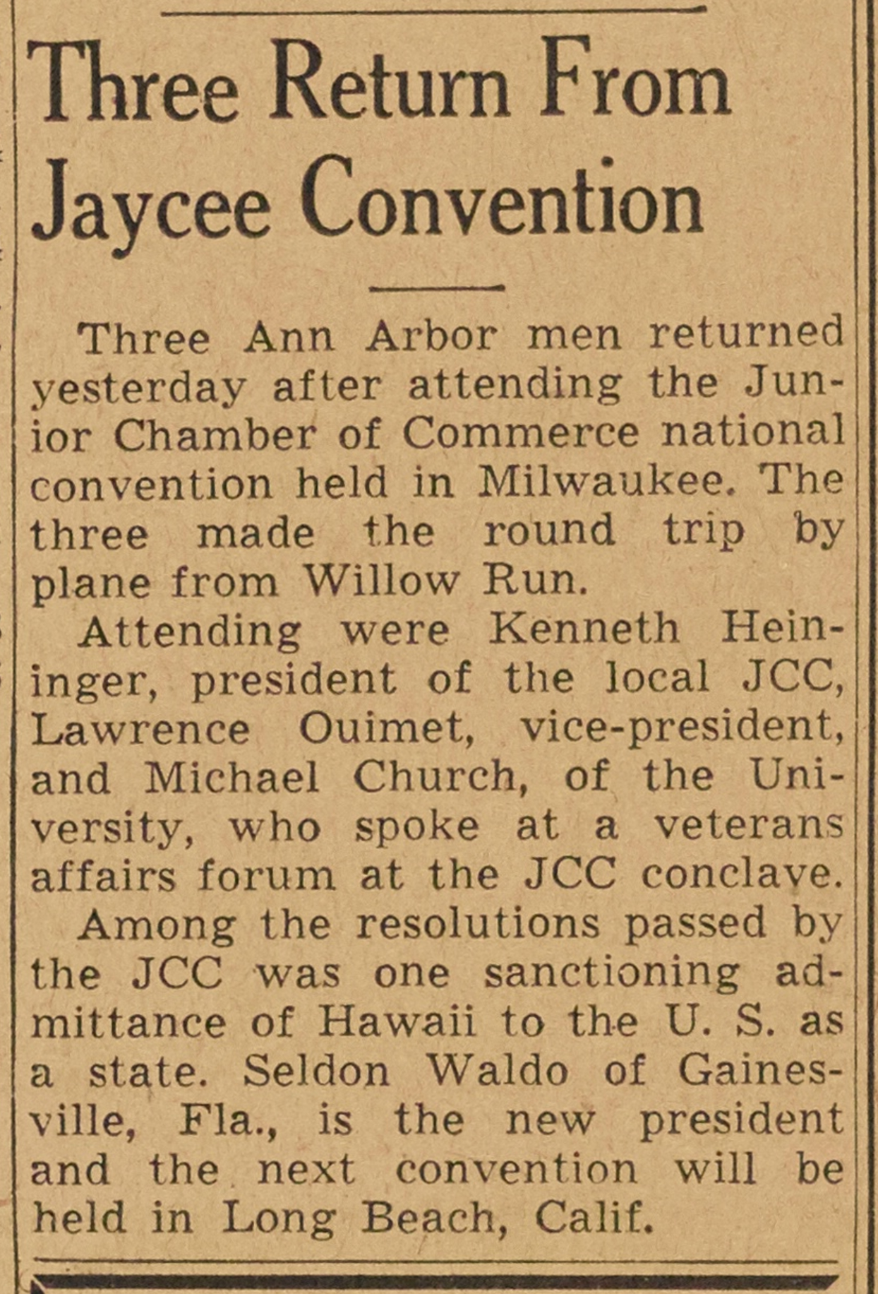 Three Return From Jaycee Convention image
