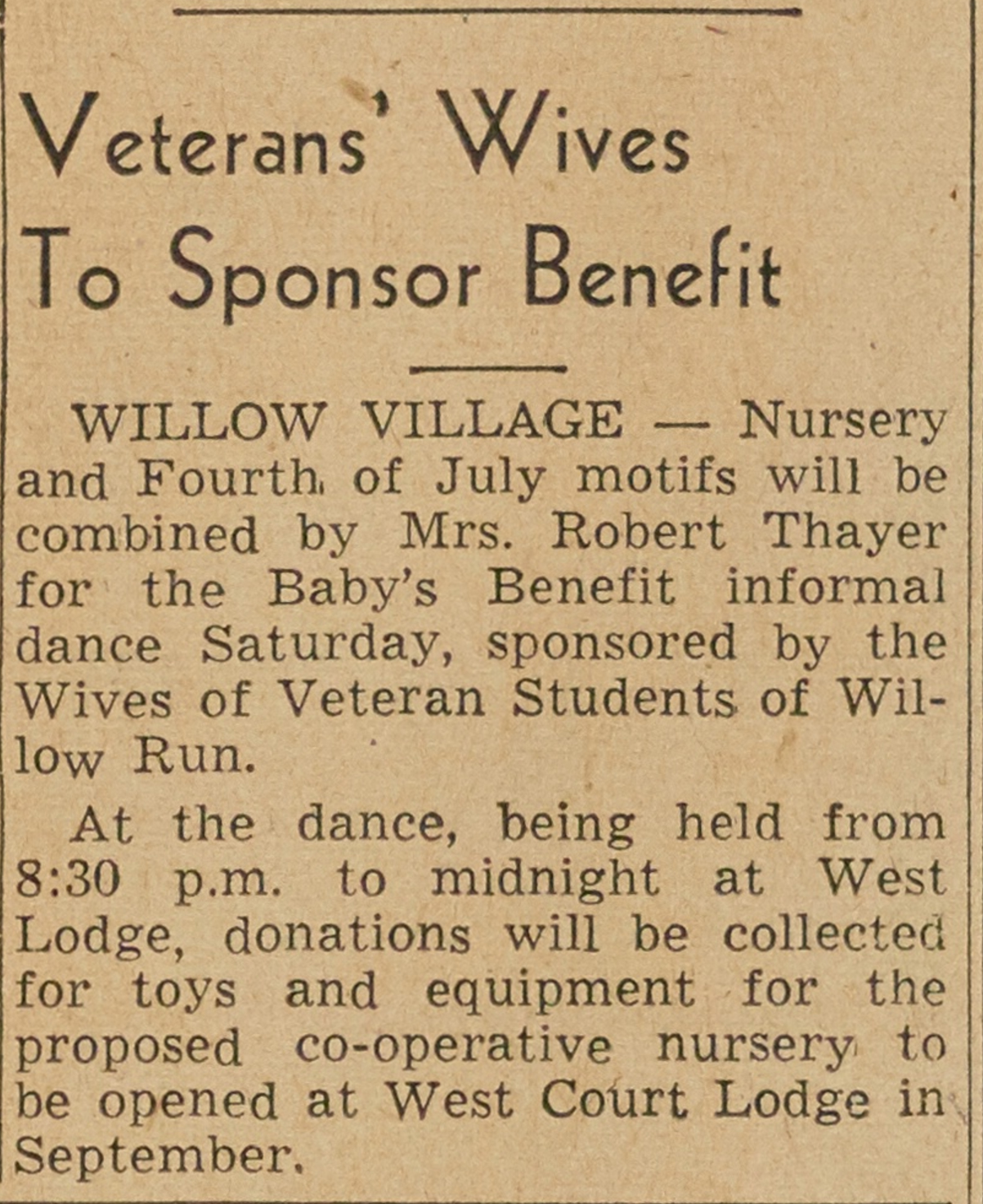 Veterans' Wives To Sponser Benefit image