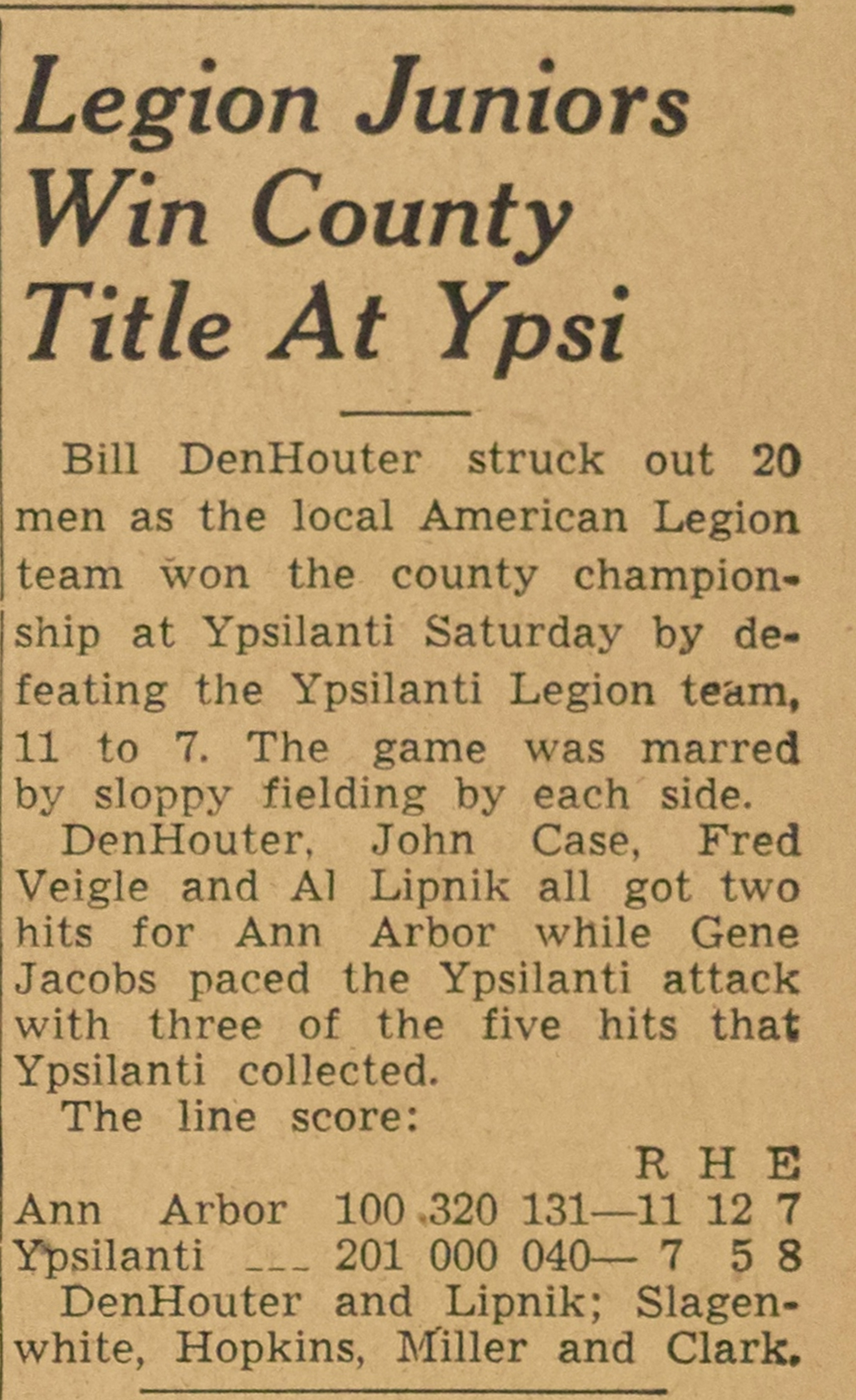 Legion Juniors Win County Title At Ypsi image