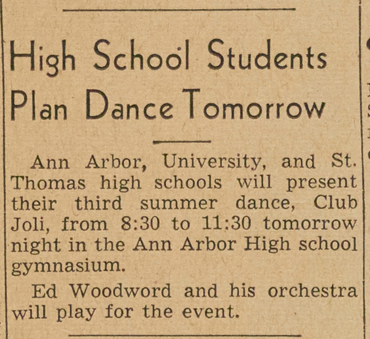 High School Students Plan Dance Tomorrow image