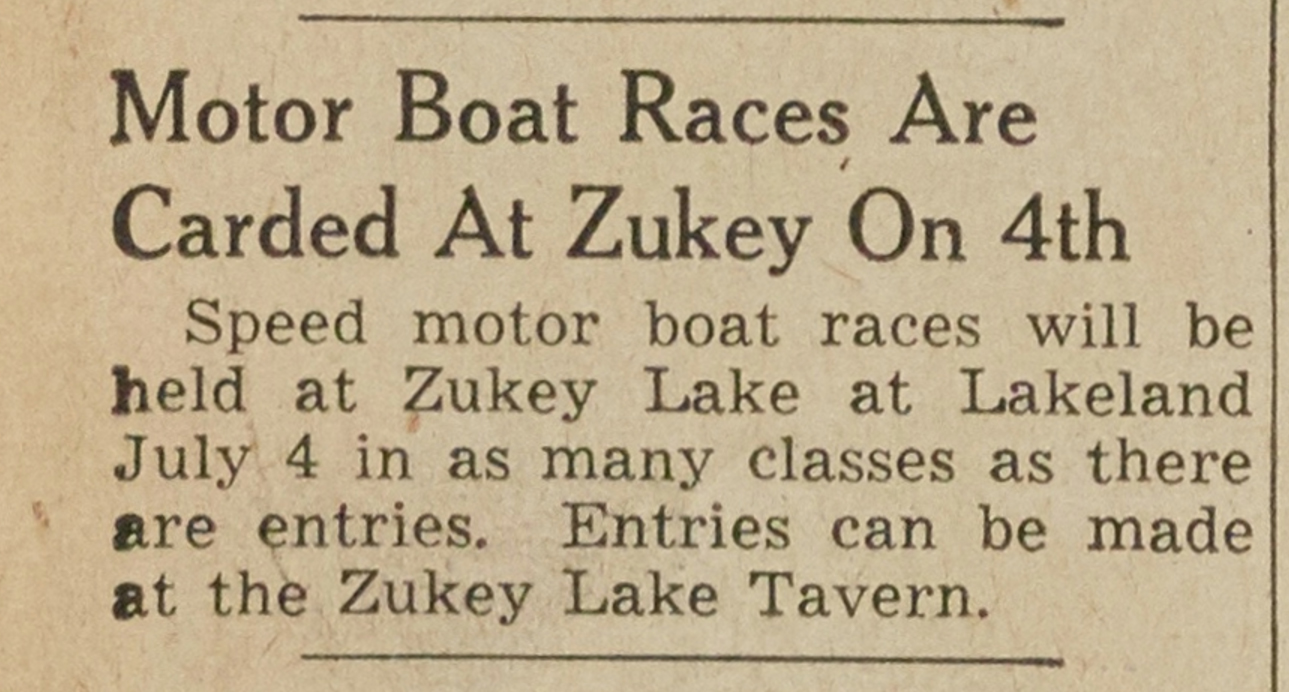 Motor Boat Races Are Carded At Zukey On 4th image