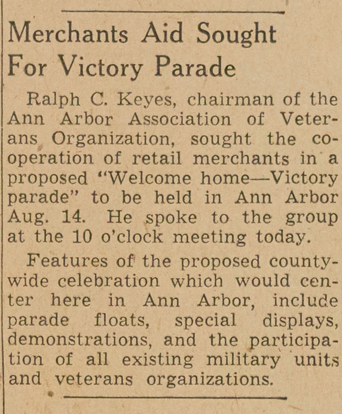Merchants Aid Sought For Victory Parade image
