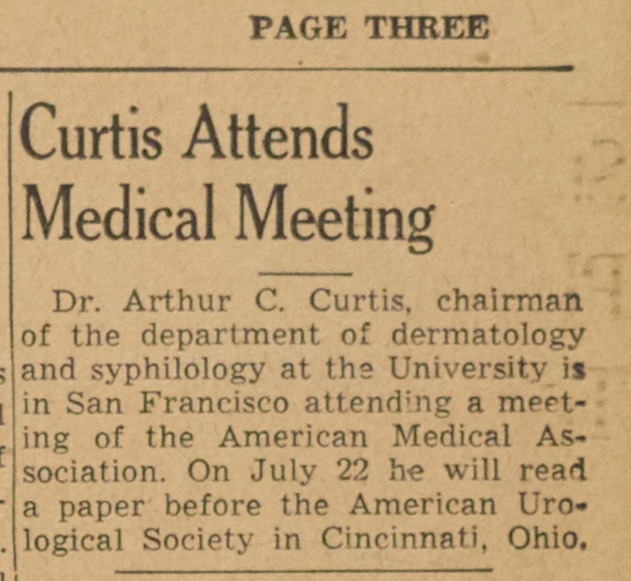 Curtis Attends Medical Meeting image