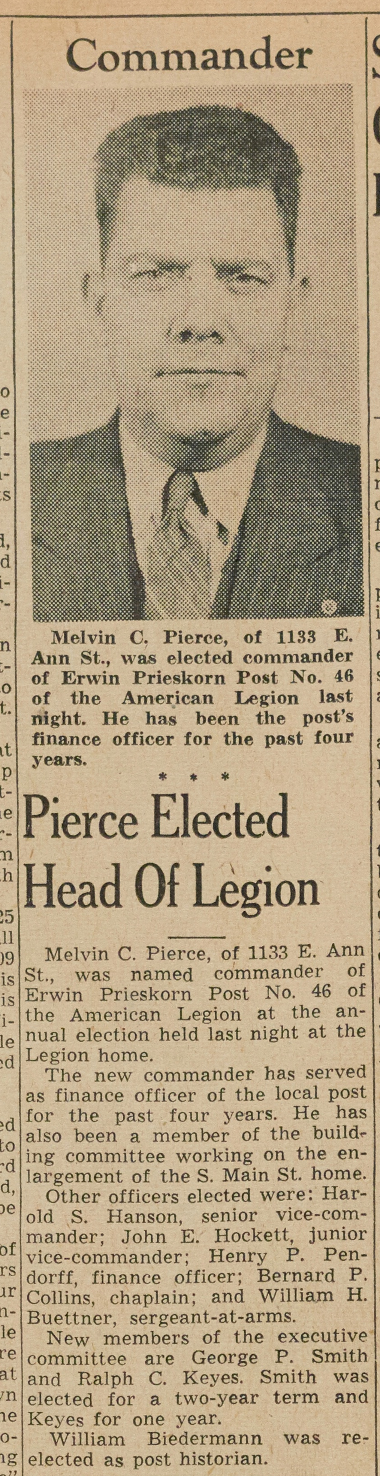 Pierce Elected Head Of Legion image