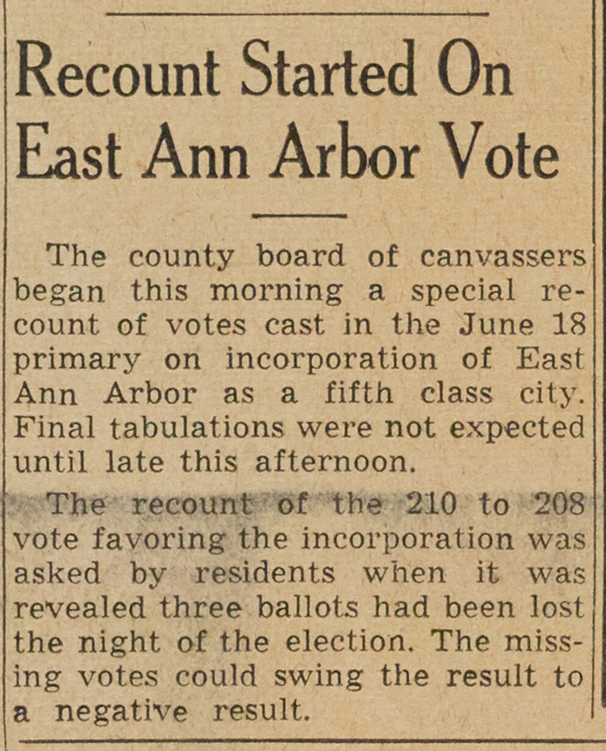 Recount Started On East Ann Arbor Vote image