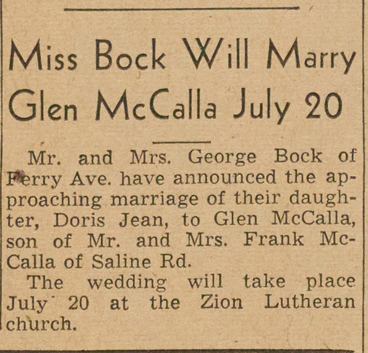 Miss Bock Will Marry Glen McCalla July 20 image