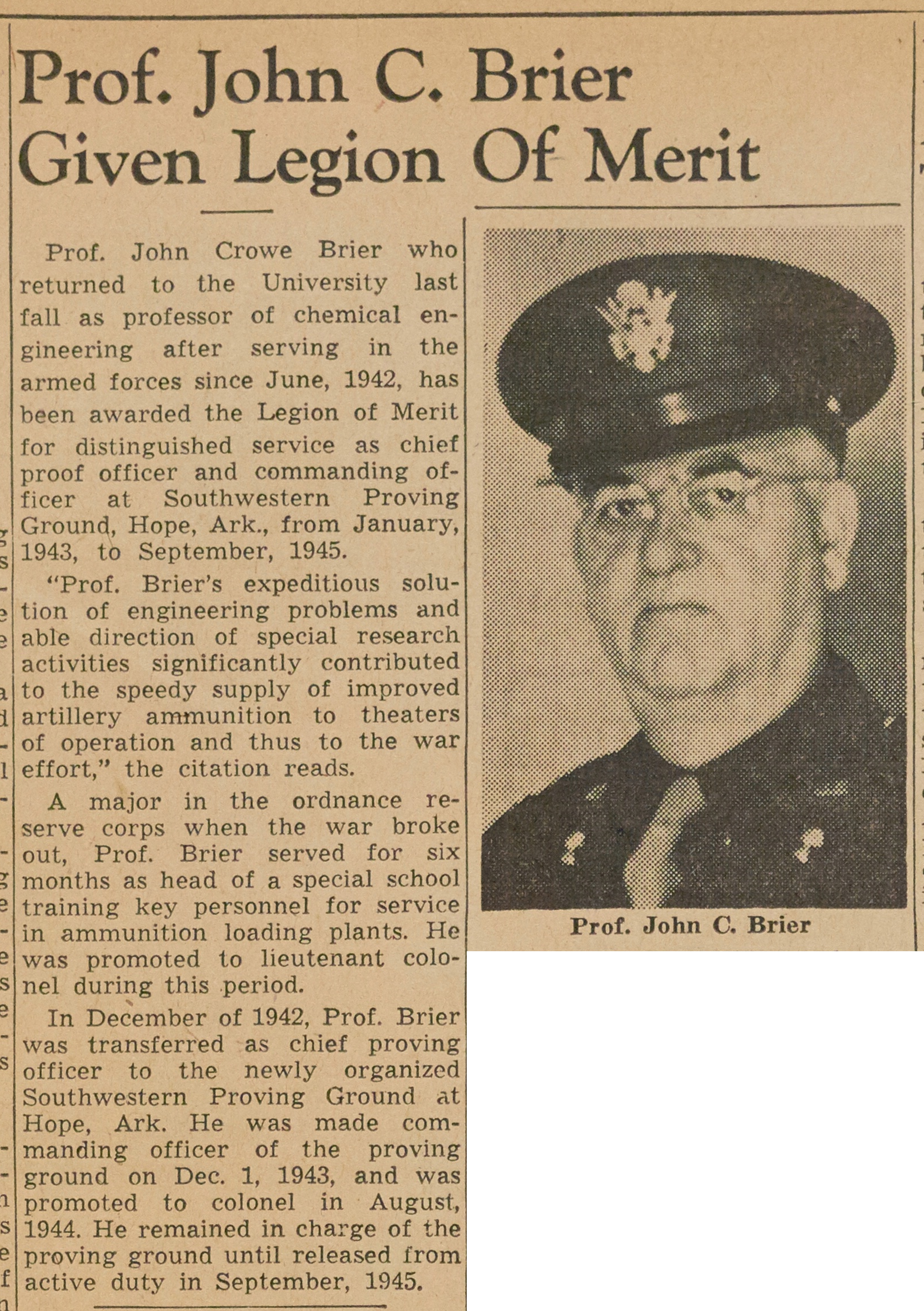 Prof. John C. Brier Given Legion Of Merit image