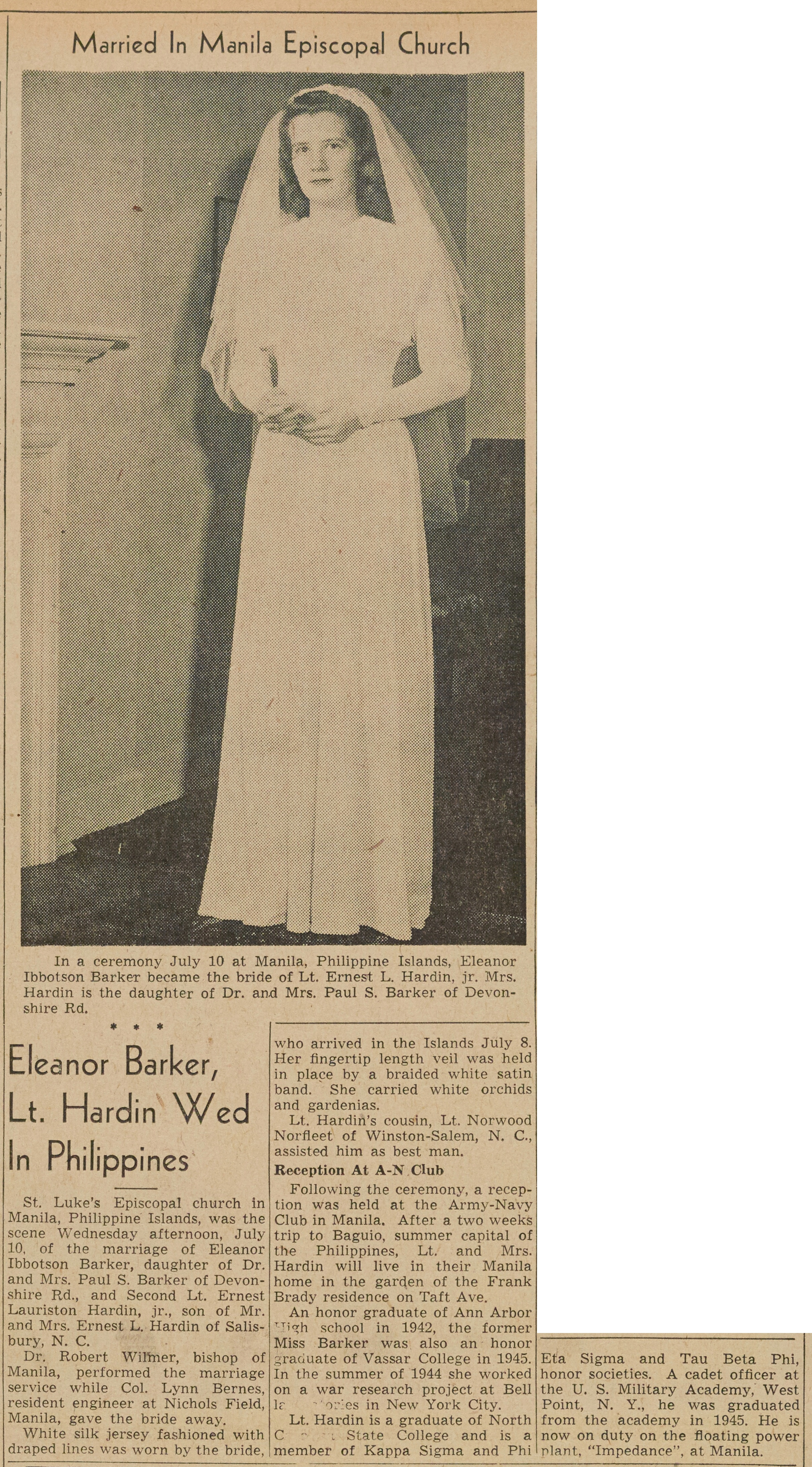 Eleanor Barker, Lt. Hardin Wed In Philippines image