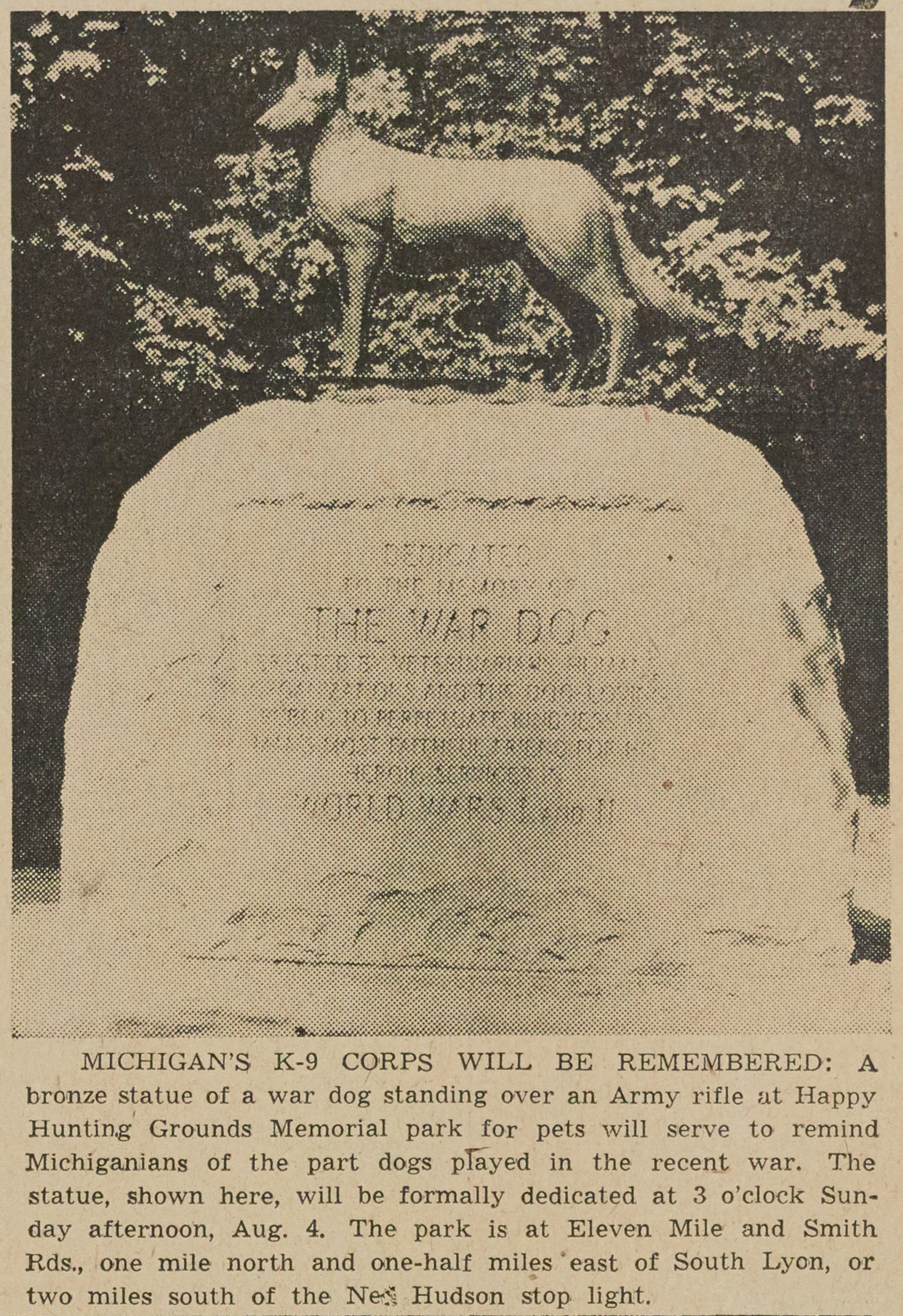 Michigan's K-9 Corps Will Be Remembered image