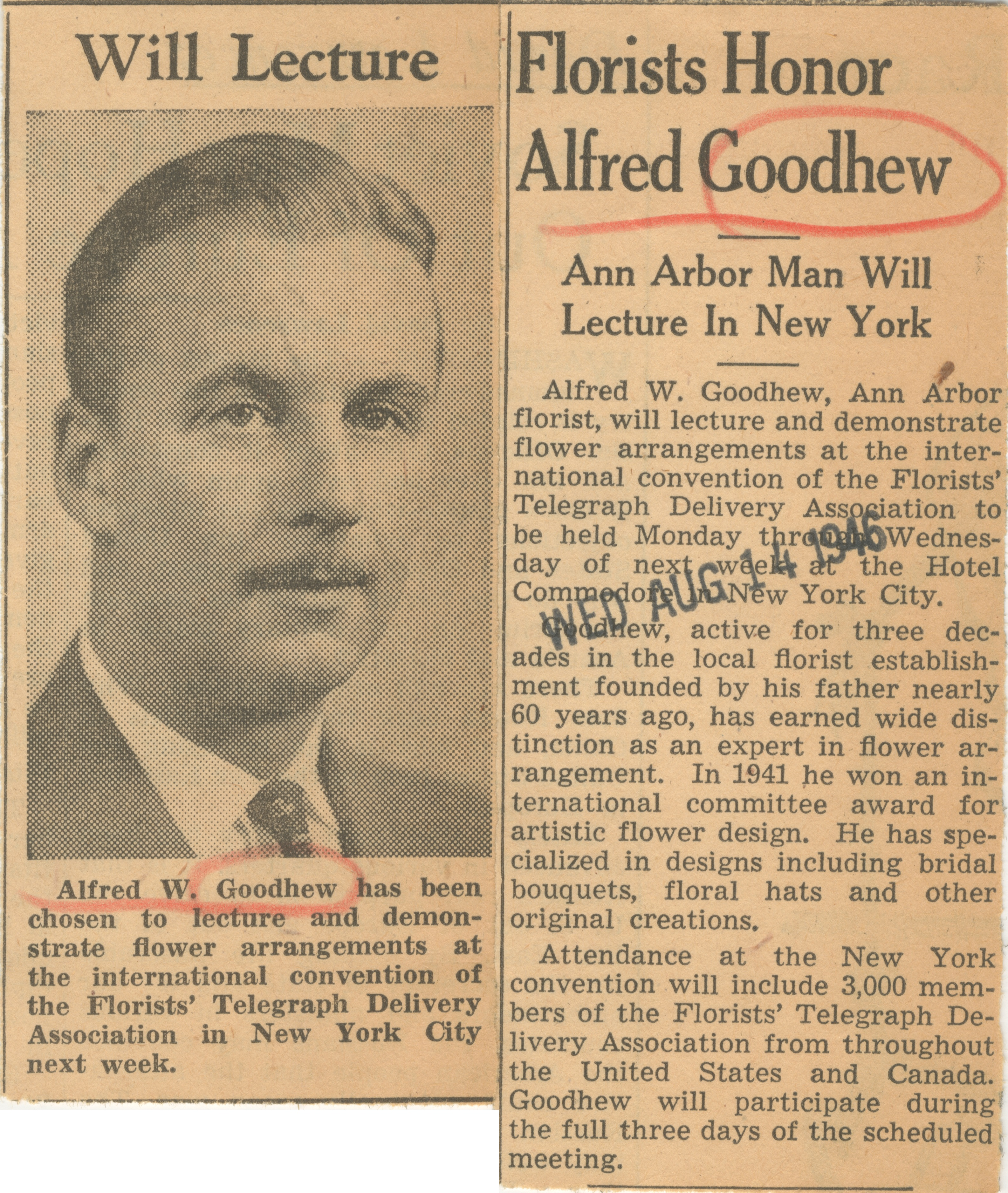 Florists Honor Alfred Goodhew image