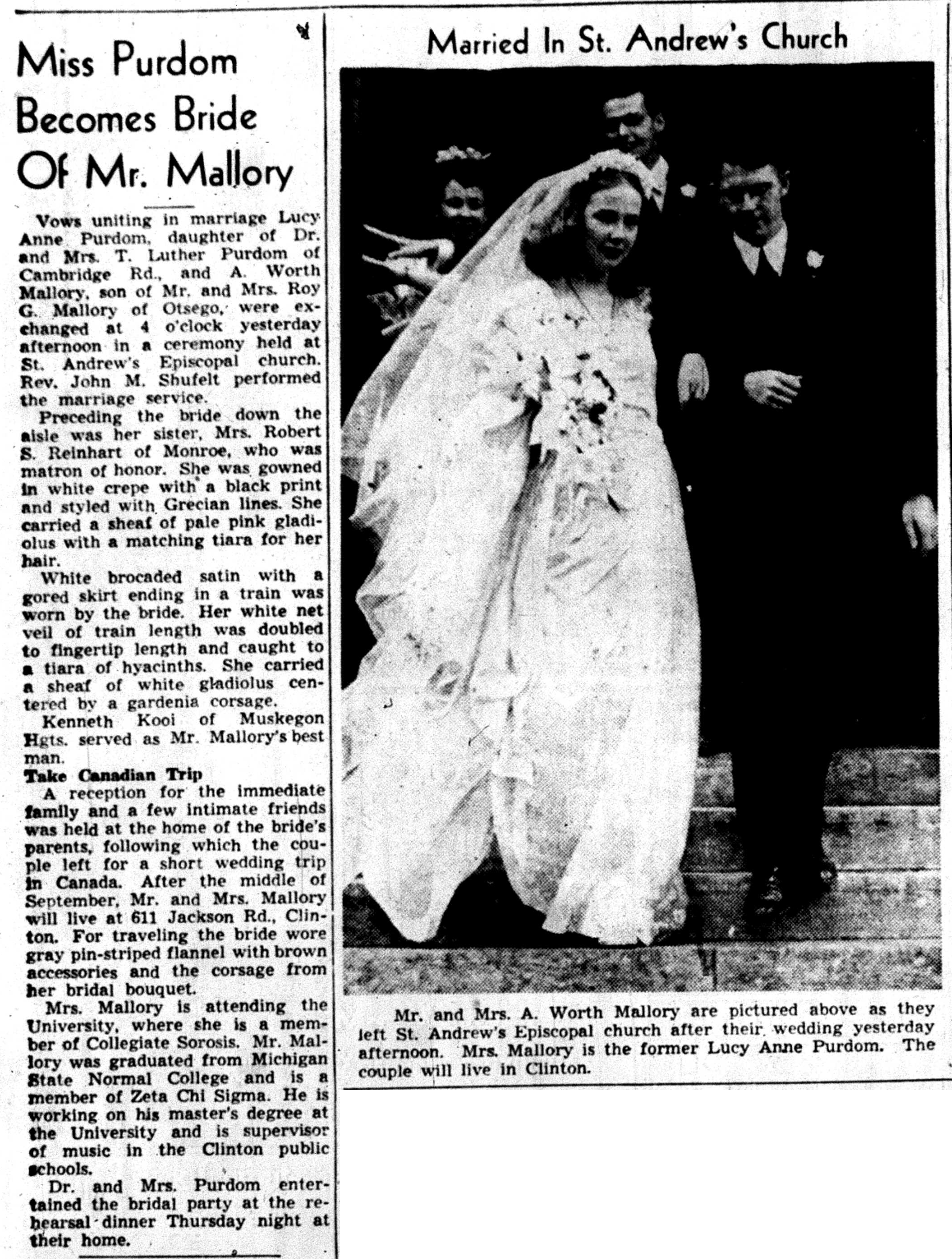 Miss Purdom Becomes Bride Of Mr. Mallory image
