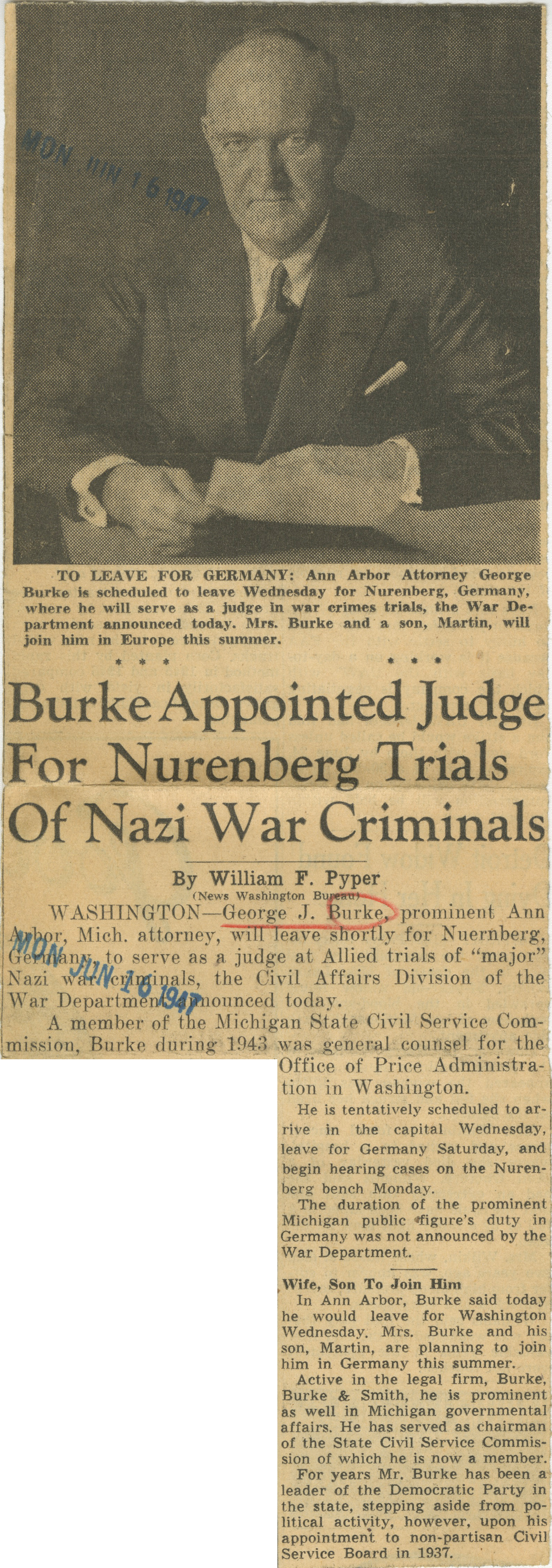 Burke Appointed Judge For Nurenberg Trials Of Nazi War Criminals image