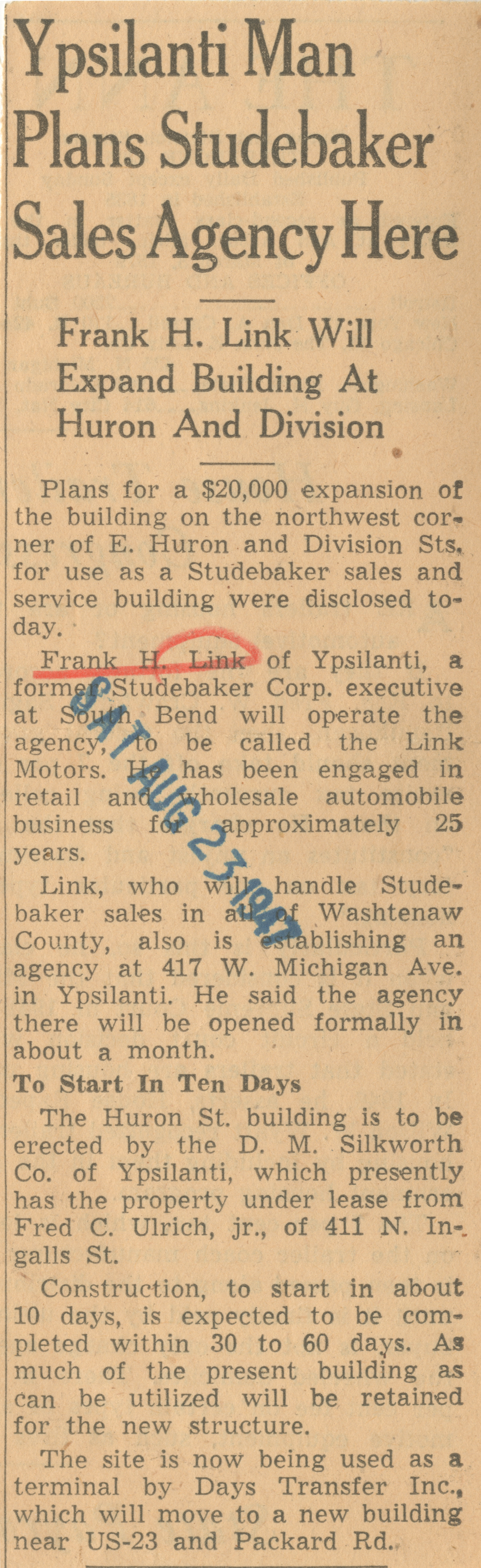Ypsilanti Man Plans Studebaker Sales Agency Here image