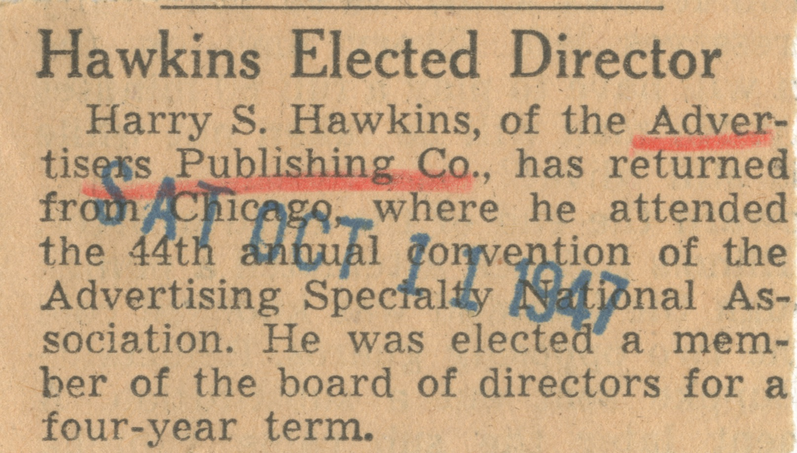 Hawkins Elected Director image