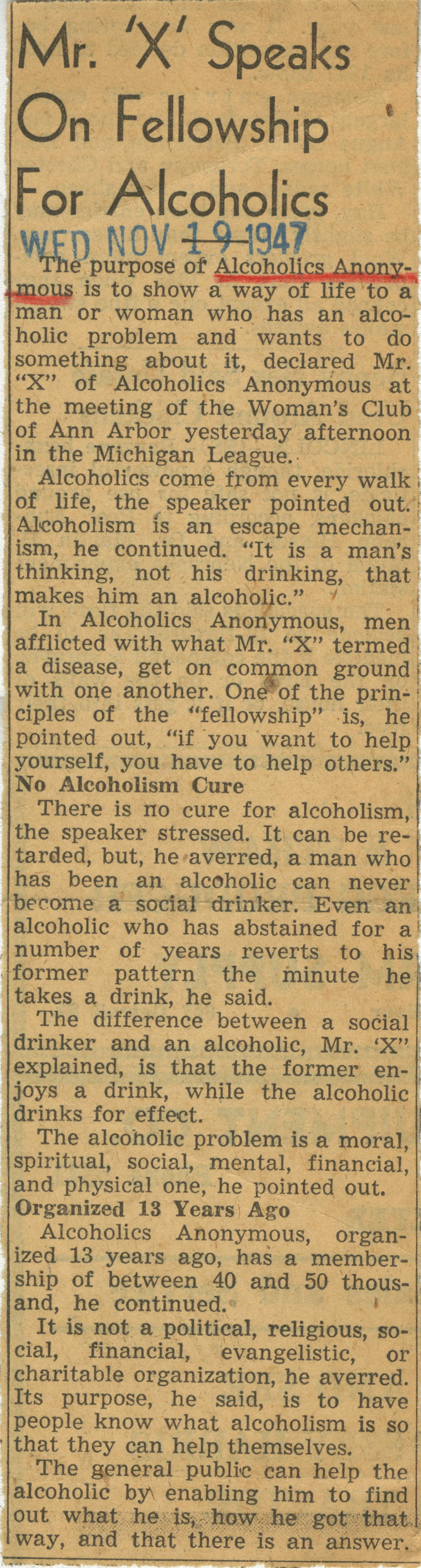 Mr. 'X' Speaks On Fellowship For Alcoholics image