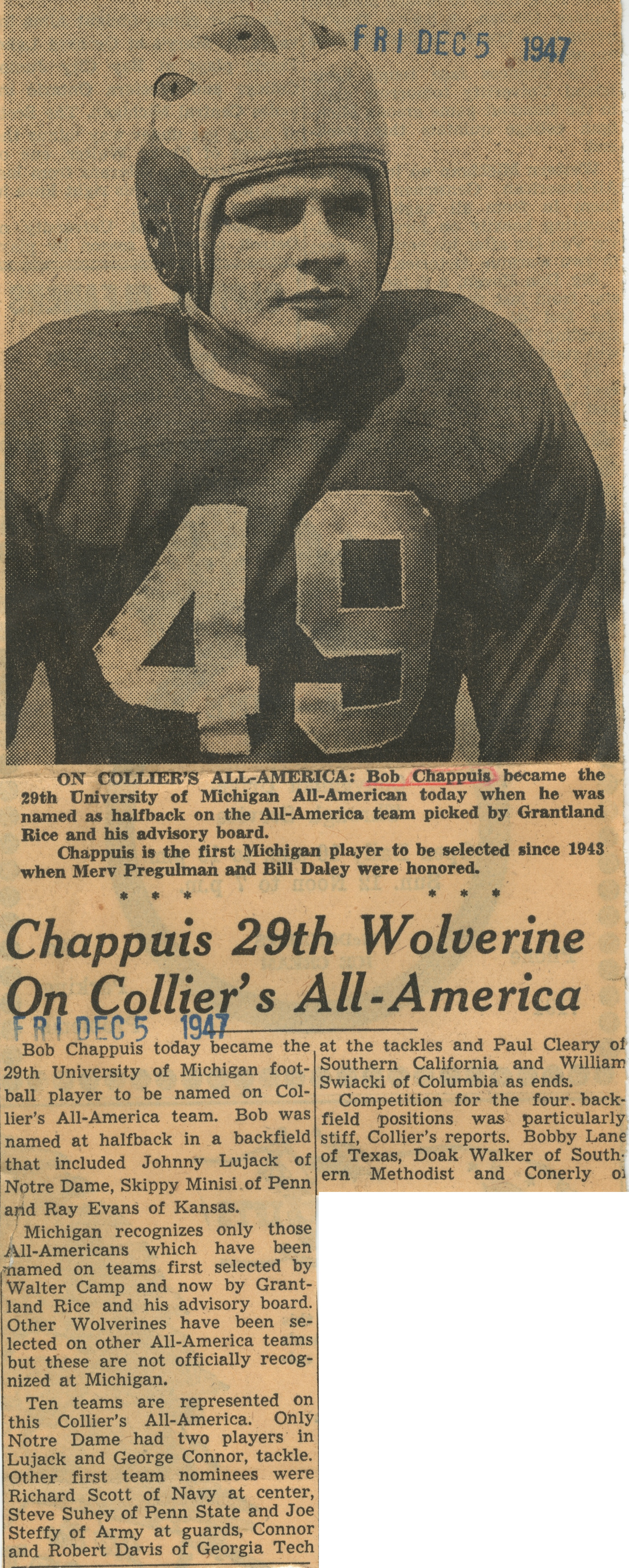 Chappuis 29th Wolverine on Collier's All-America image