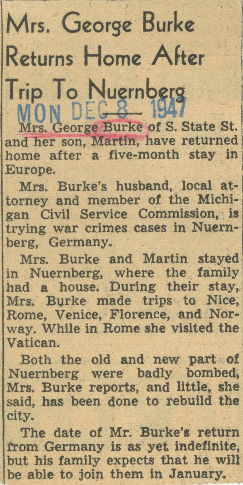 Mrs. George Burke Returns Home After Trip To Nuernberg image