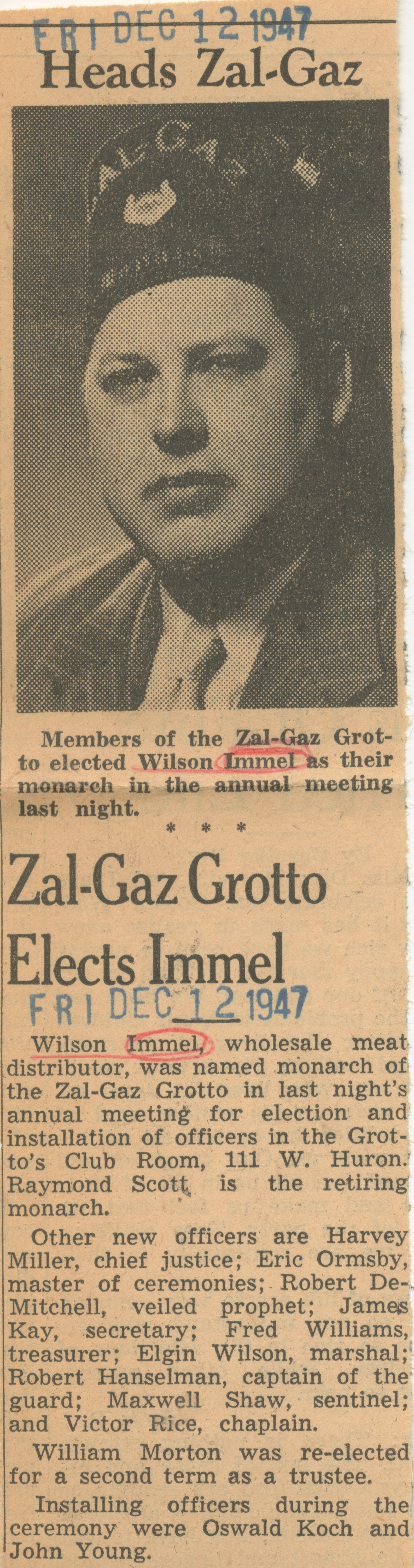 Zal-Gaz Grotto Elects Immel image