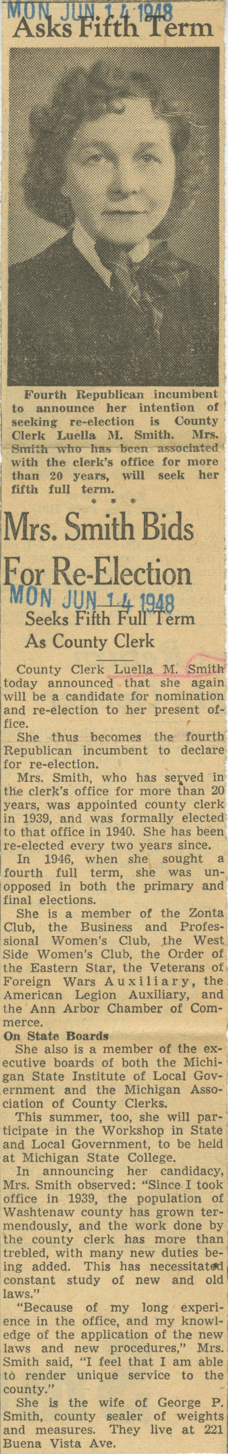 Mrs. Smith Bids For Re-Election image