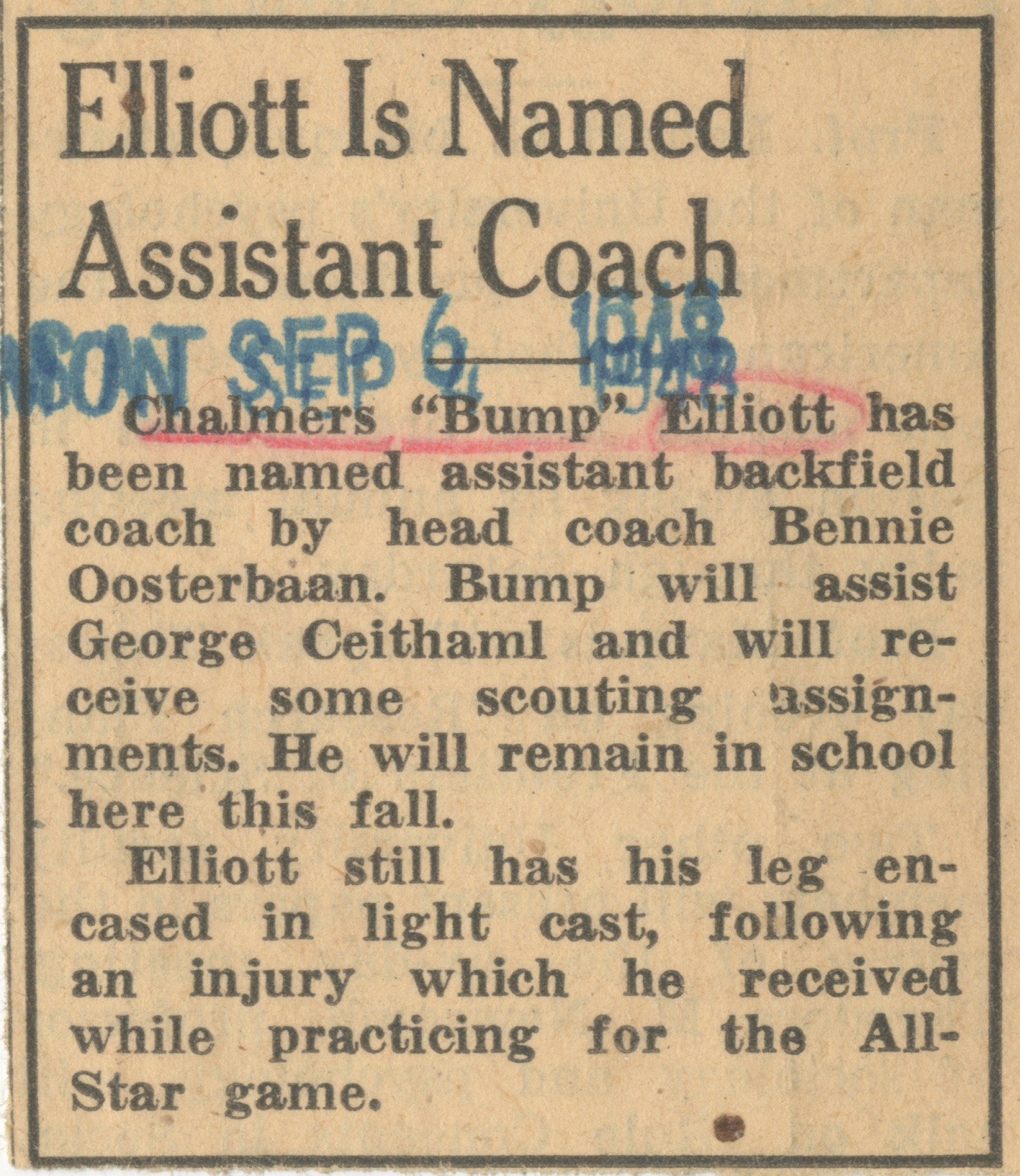 Elliott Is Named Assistant Coach image