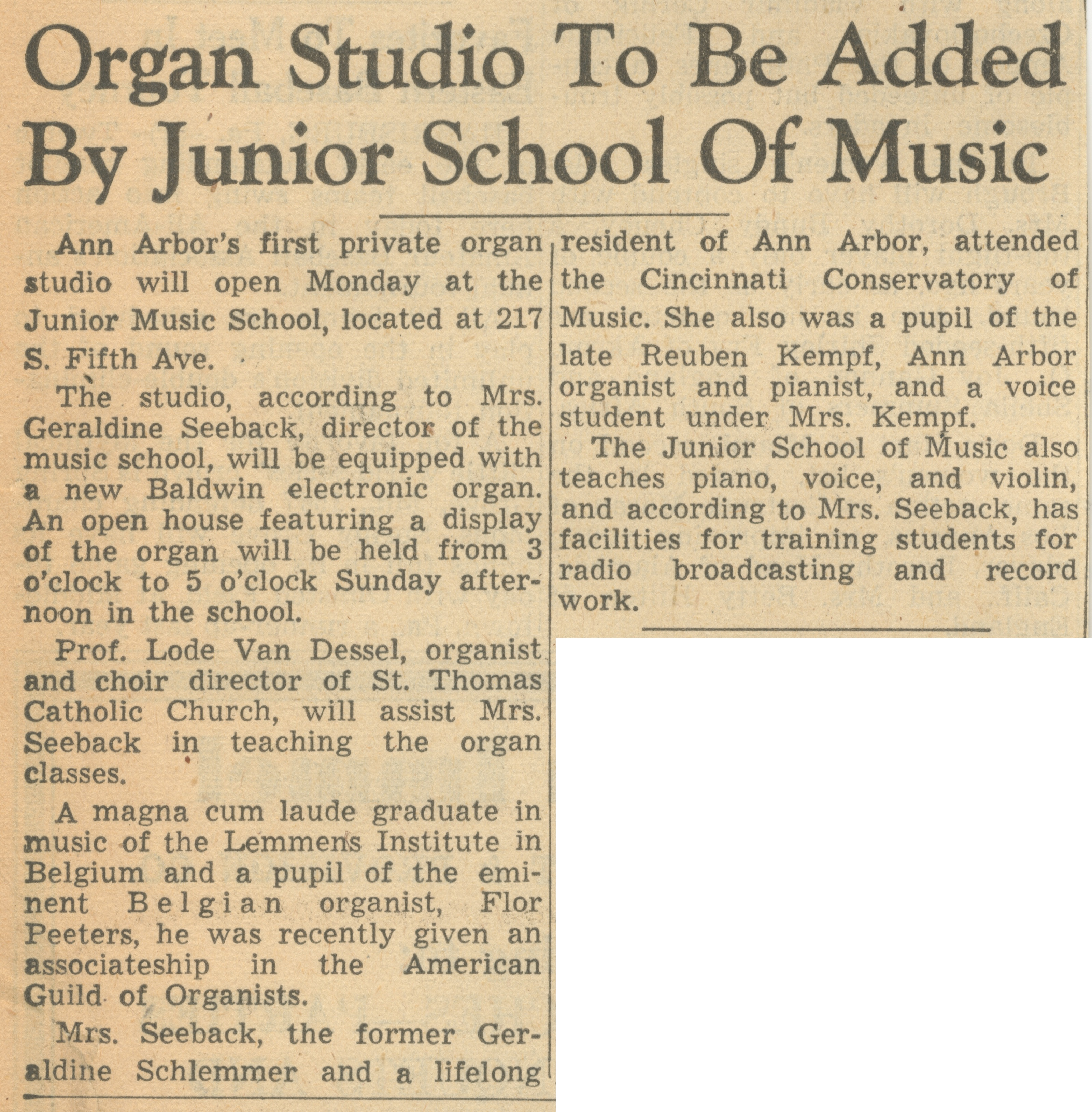 Organ Studio To Be Added By Junior School Of Music image