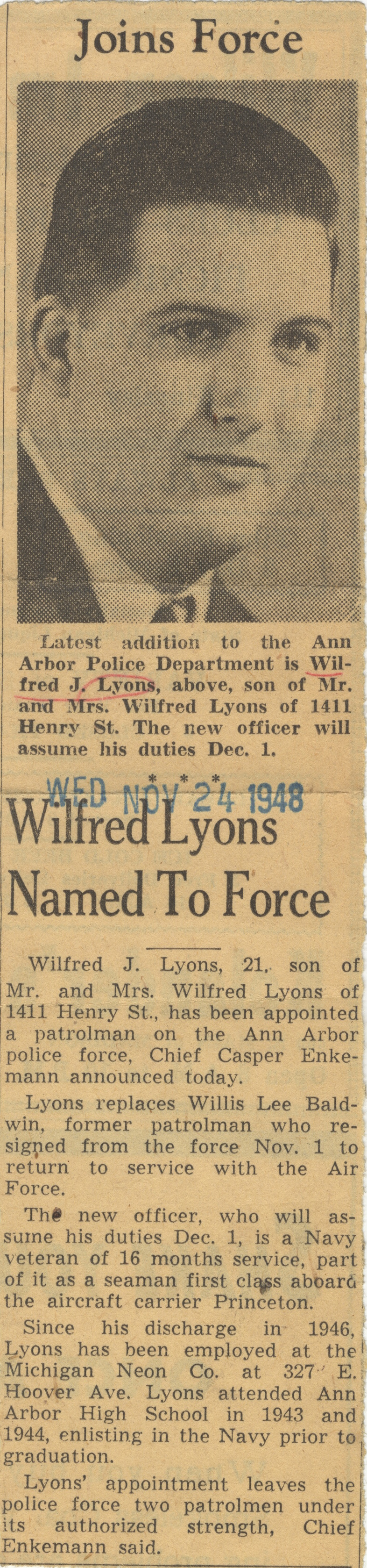 Wilfred Lyons Named To Force image