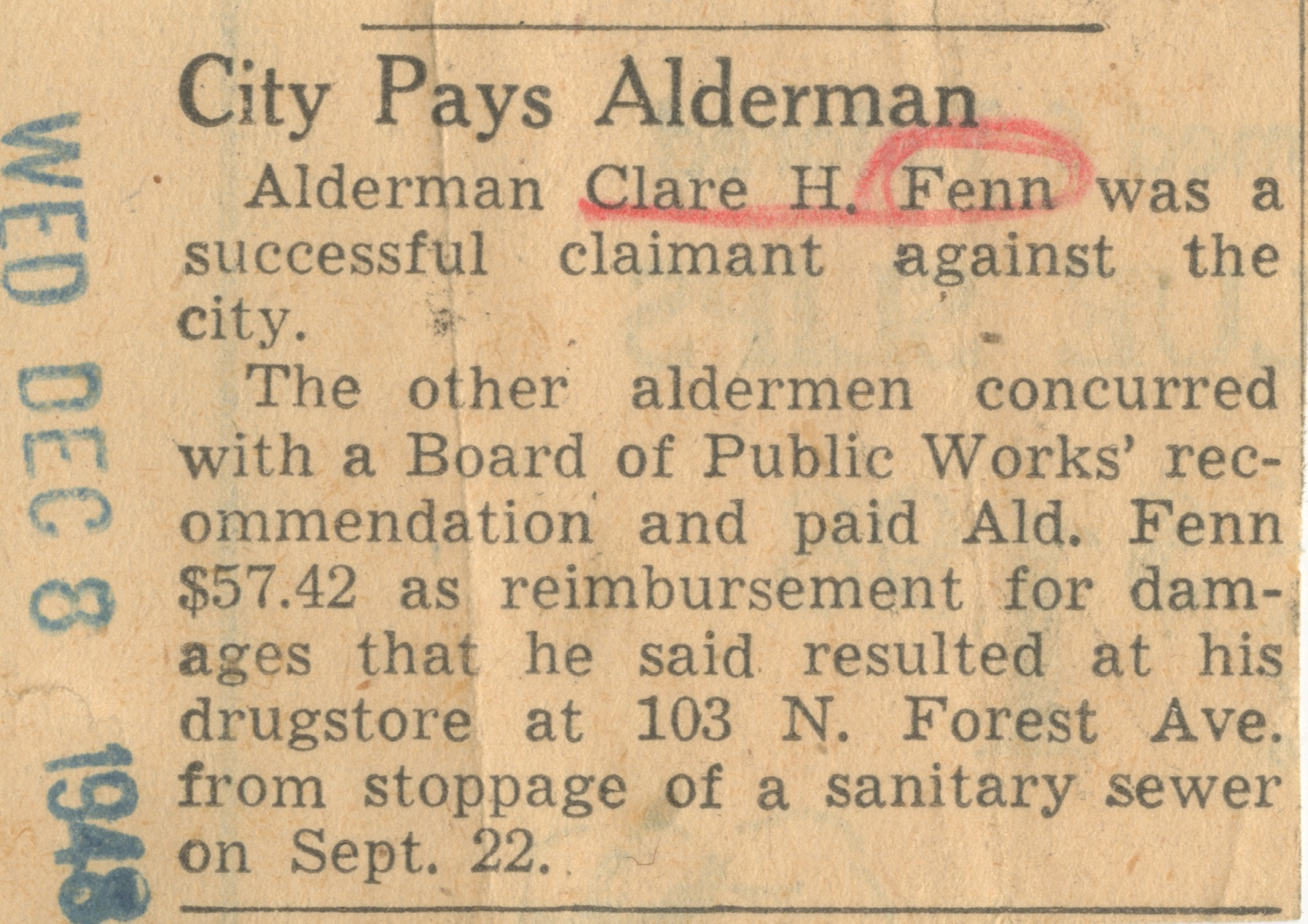 City Pays Alderman image