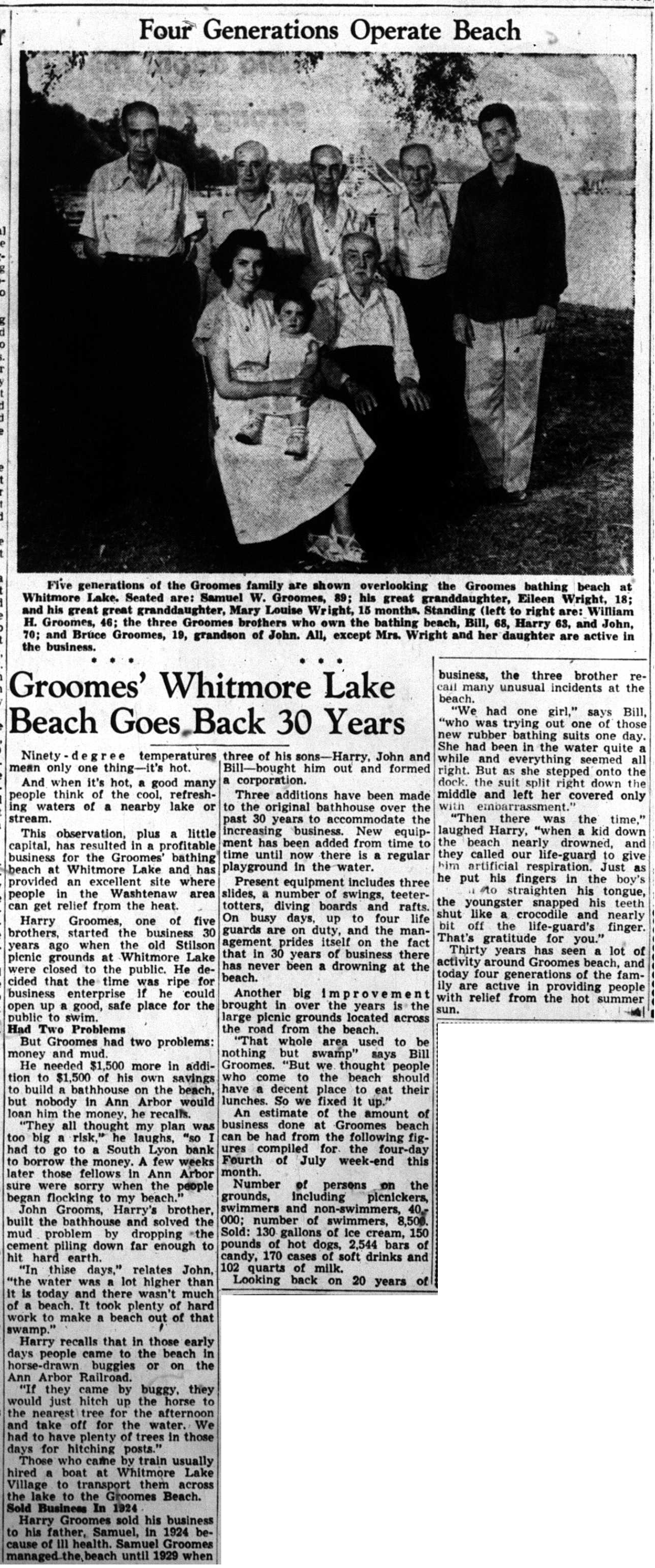 Groomes' Whitmore Lake Beach Goes Back 30 Years image