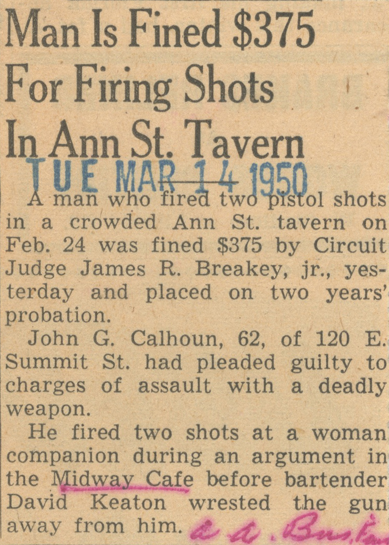 Man Is Fined $375 For Firing Shots In Ann St. Tavern image