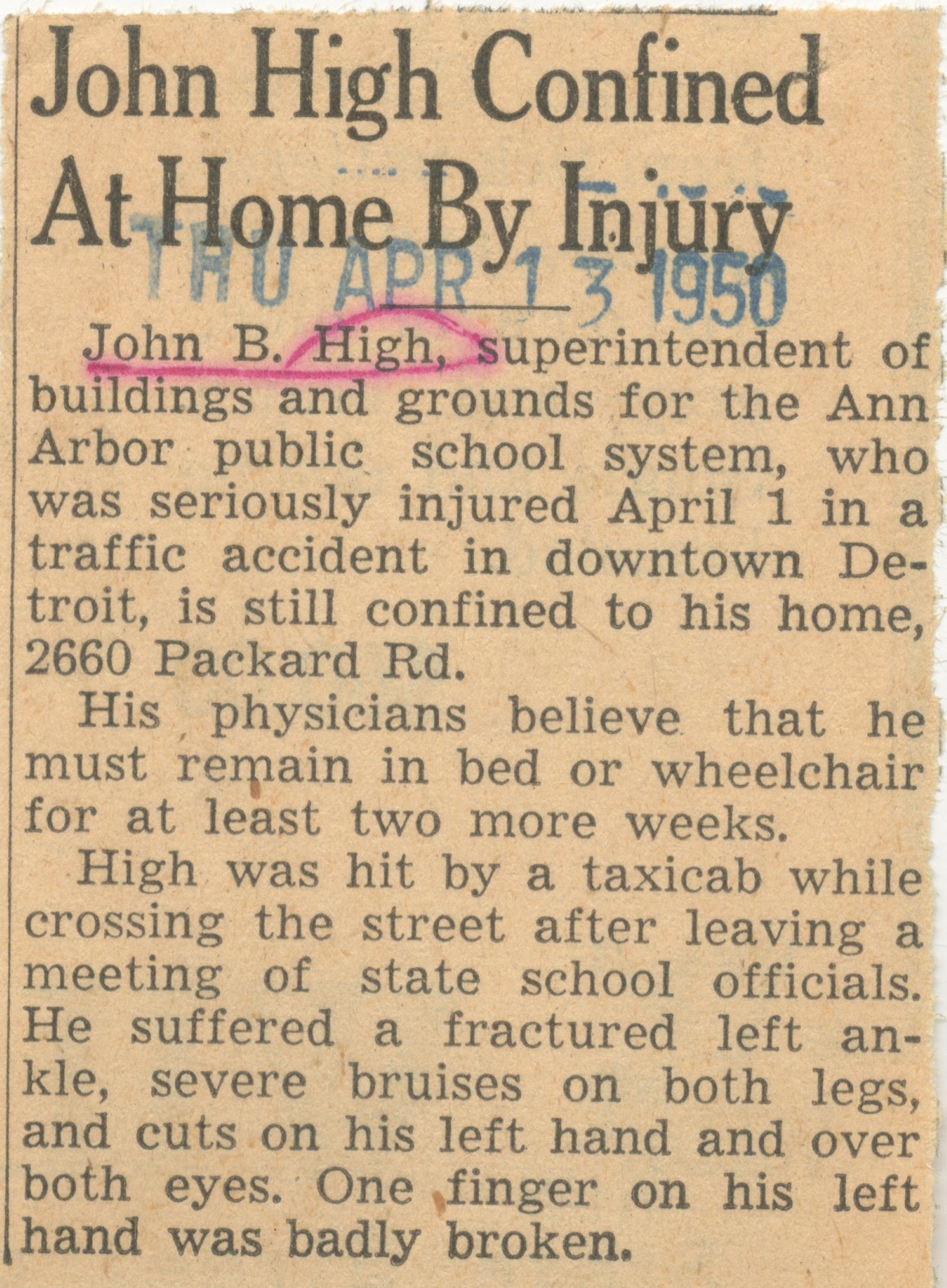 John High Confined At Home By Injury image