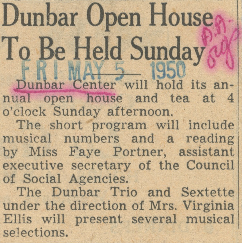 Dunbar Open House To Be Held Sunday image
