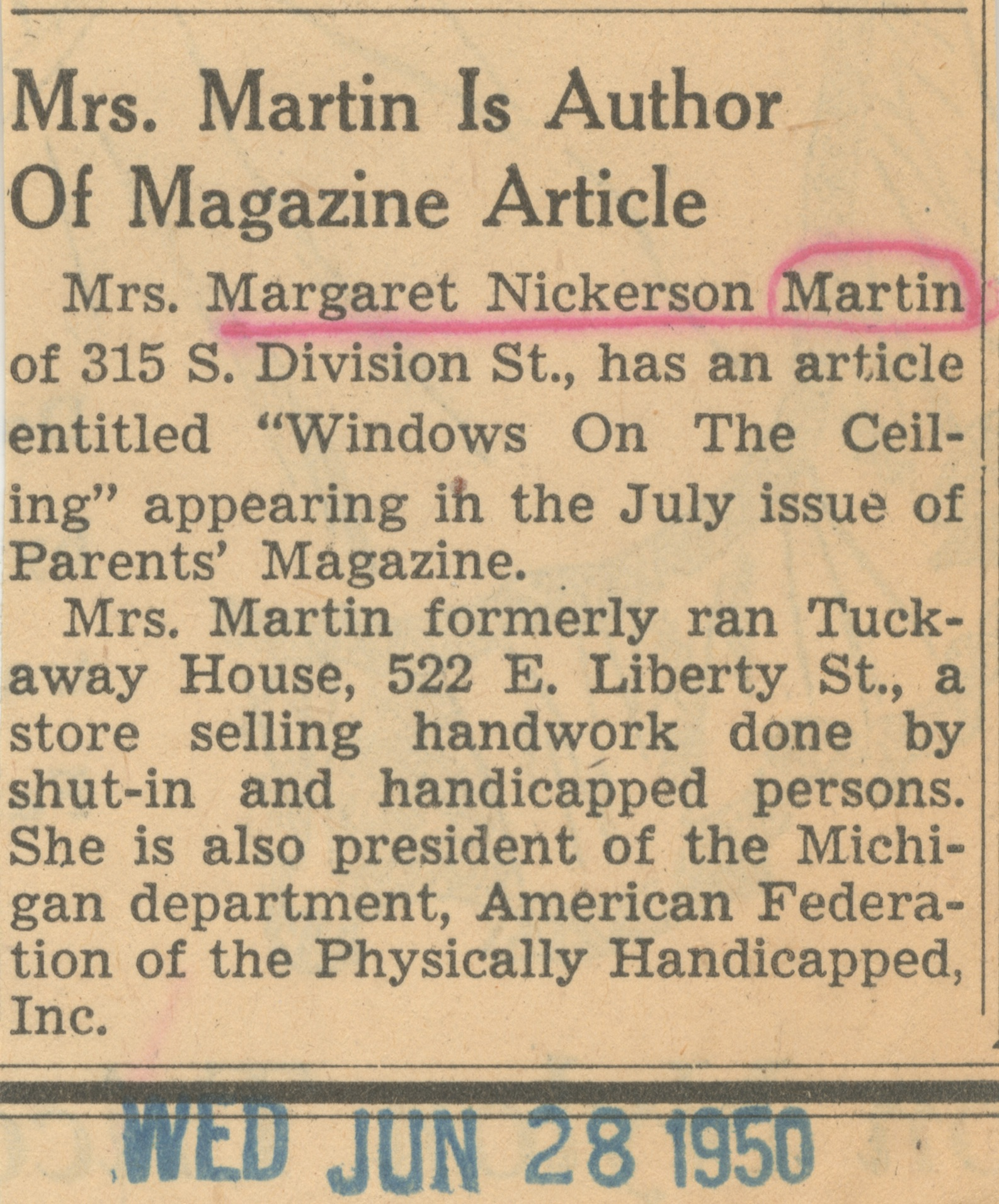 dad038d2d4a48a Mrs. Martin Is Author Of Magazine Article