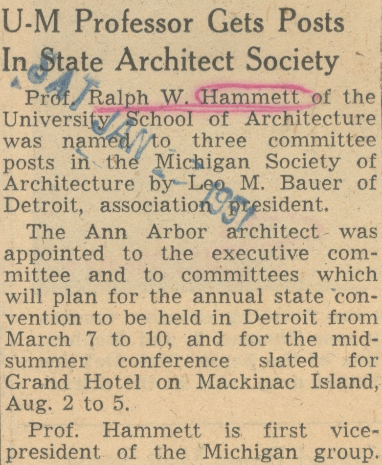 U-M Professor Gets Posts In State Architect Society image