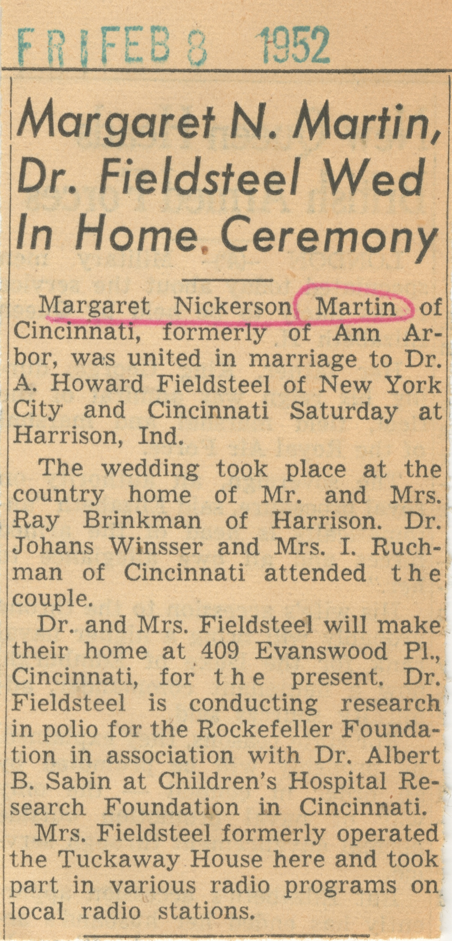 Margaret N. Martin, Dr. Fieldsteel Wed In Home Ceremony image