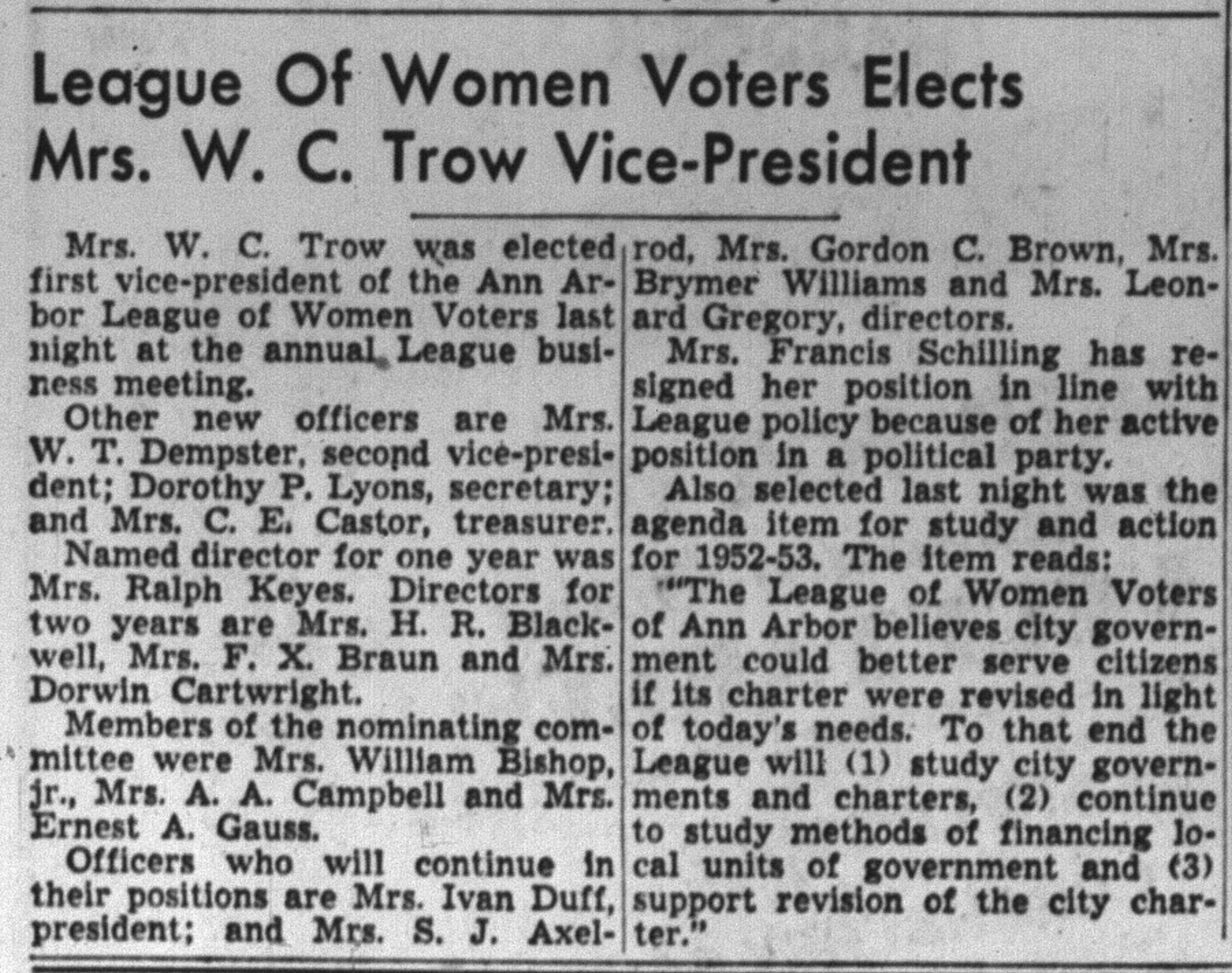 League Of Women Voters Elects Mrs. W. C. Trow Vice-President image