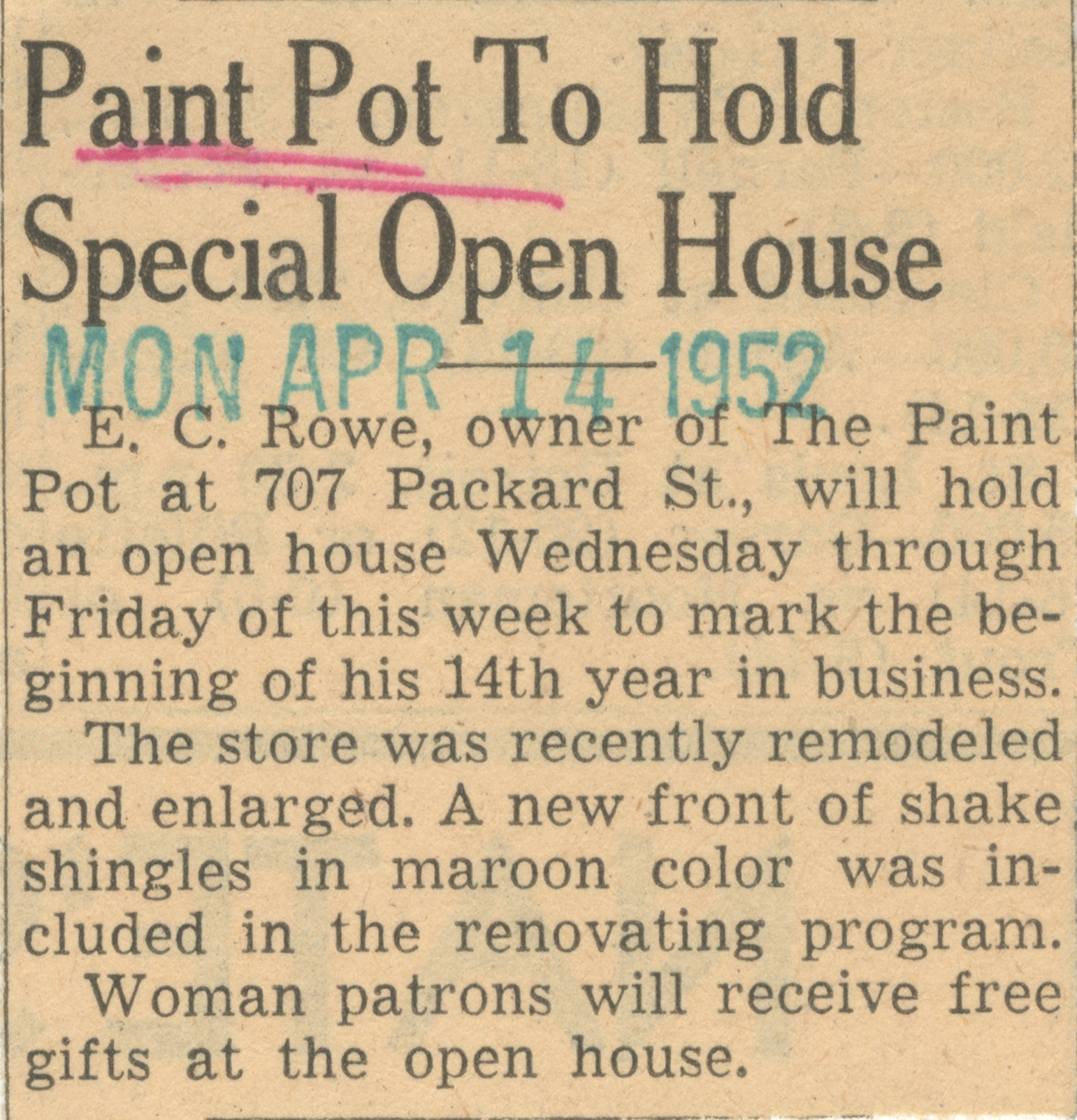 Paint Pot To Hold Special Open House image