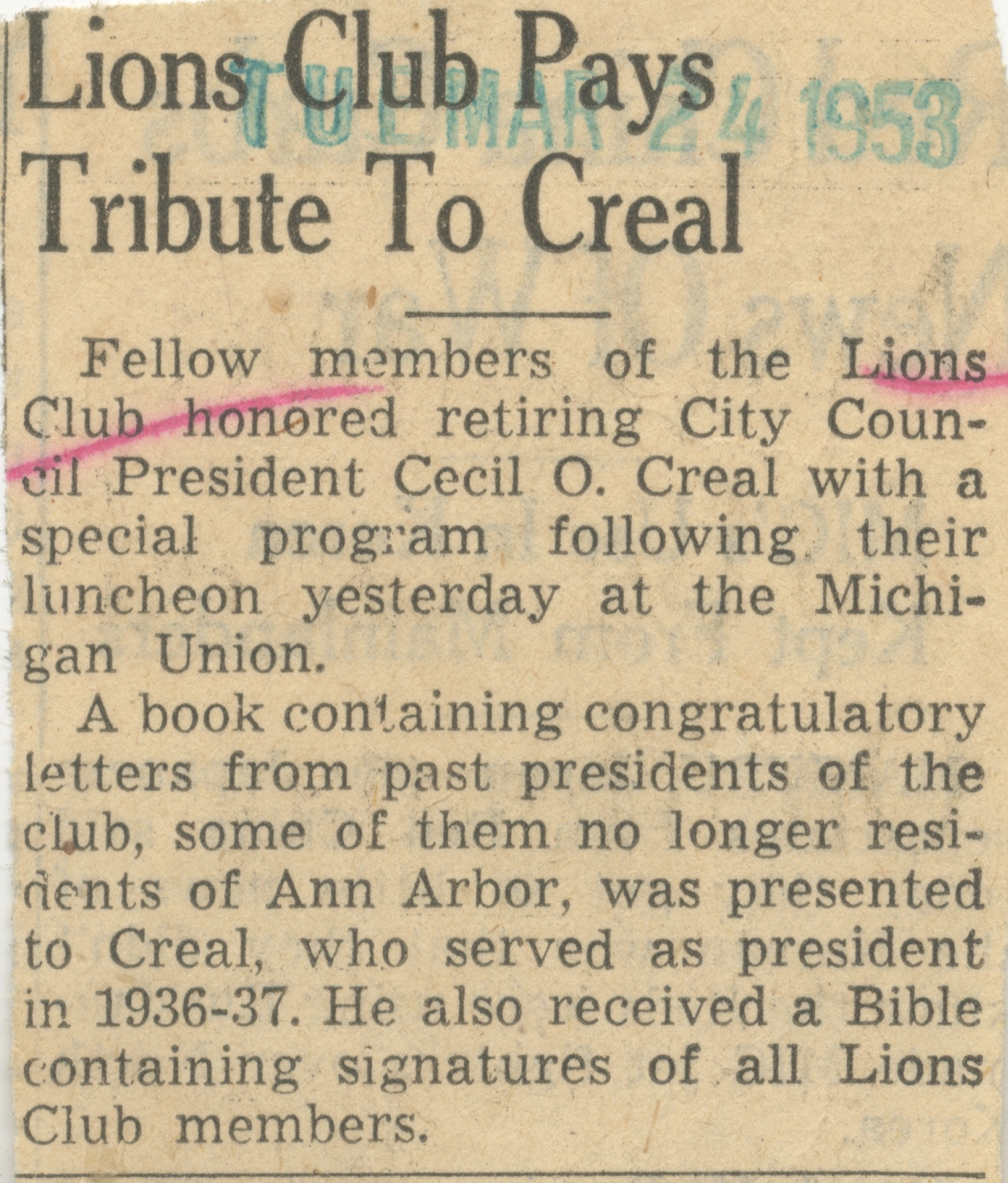 Lions Club Pays Tribute To Creal image