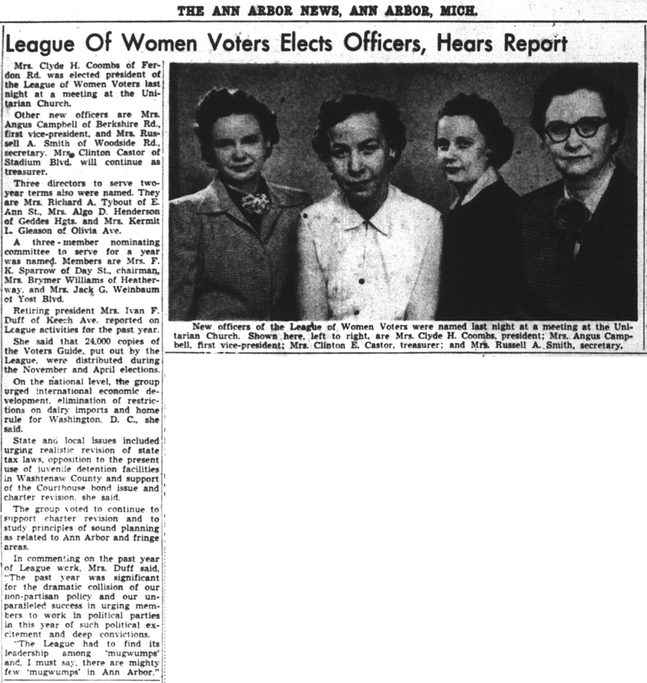 League Of Women Voters Elects Officers, Hears Report image