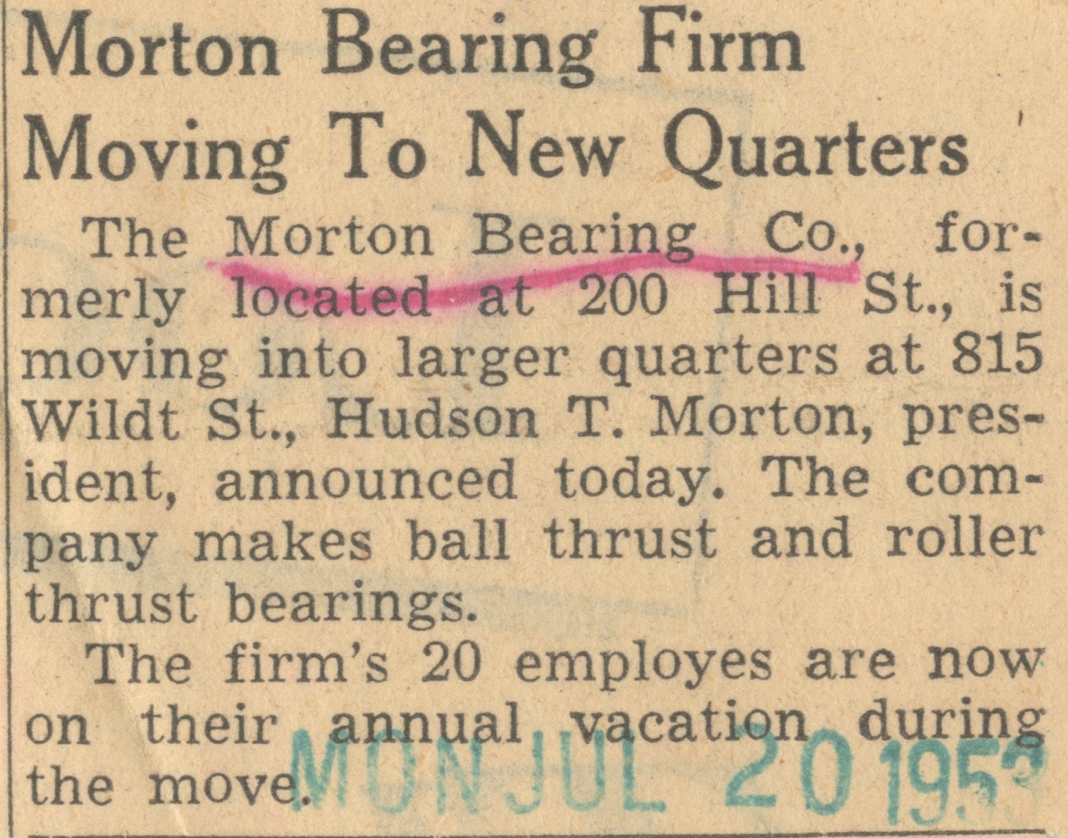 Morton Bearing Firm Moving To New Quarters image
