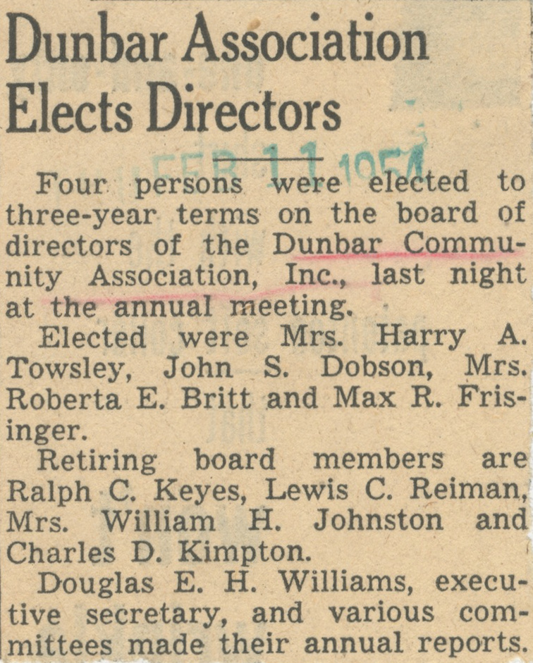 Dunbar Association Elects Directors image