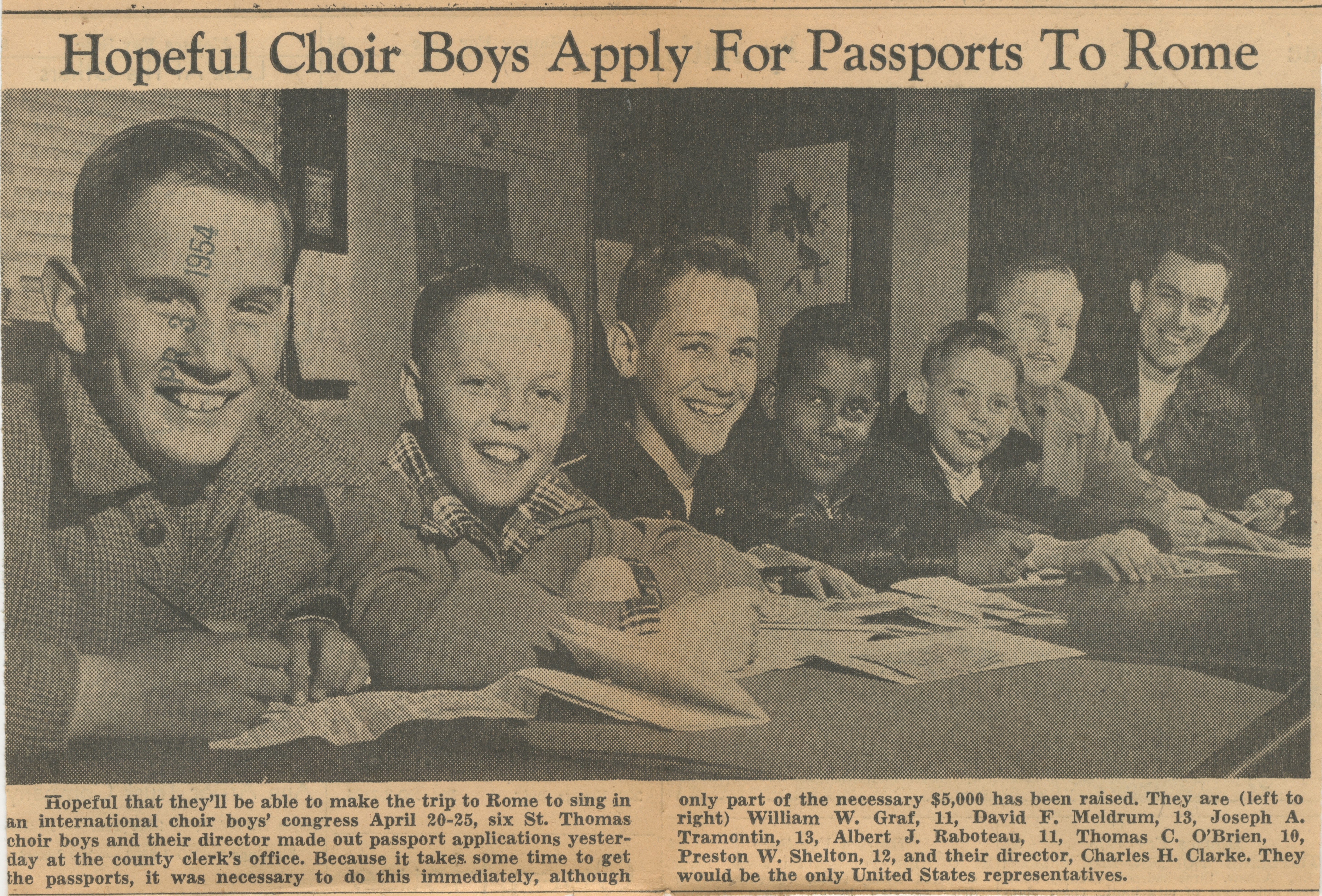 Hopeful Choir Boys Apply For Passports To Rome image