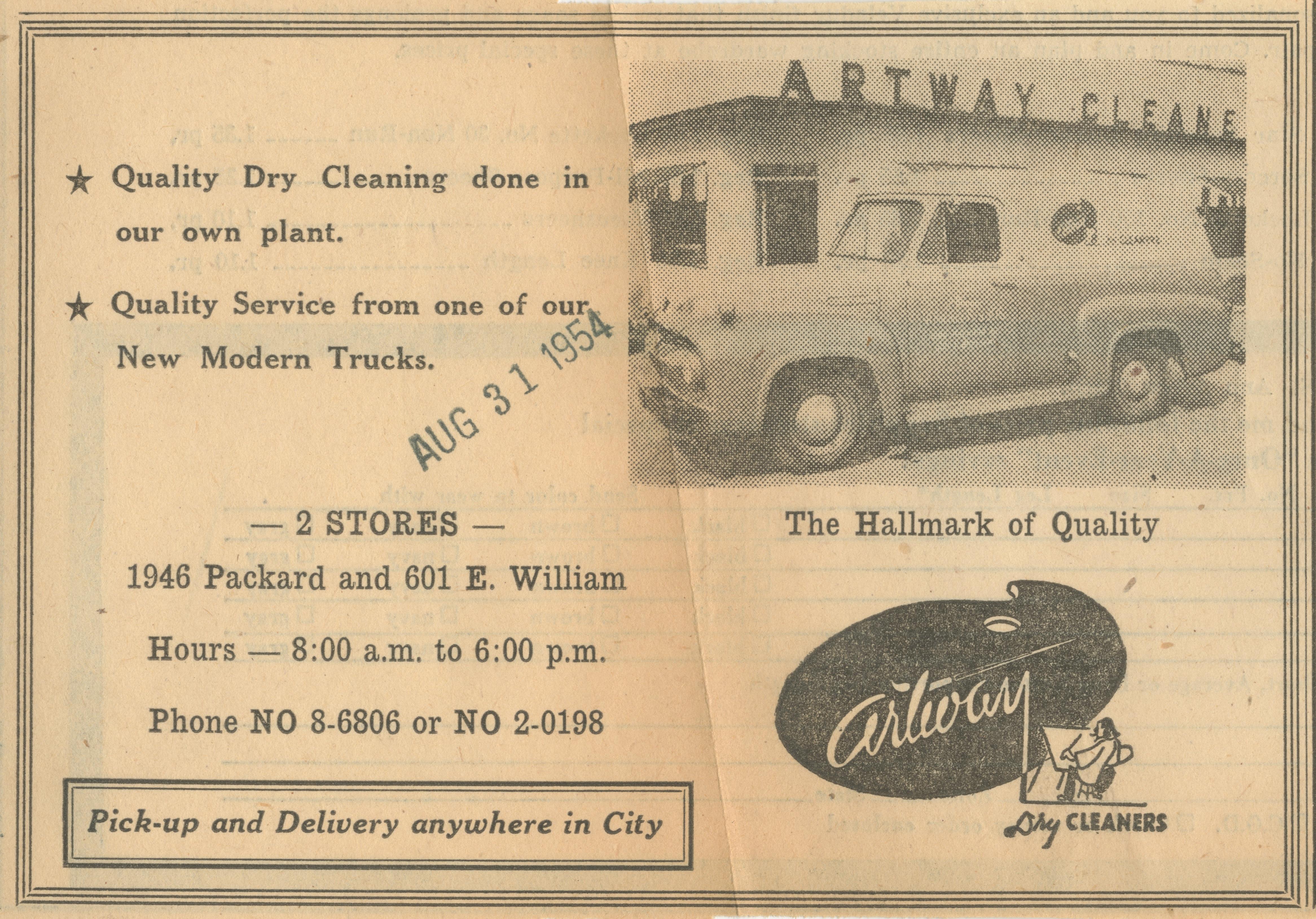 Artway Dry Cleaners [advertisement] image